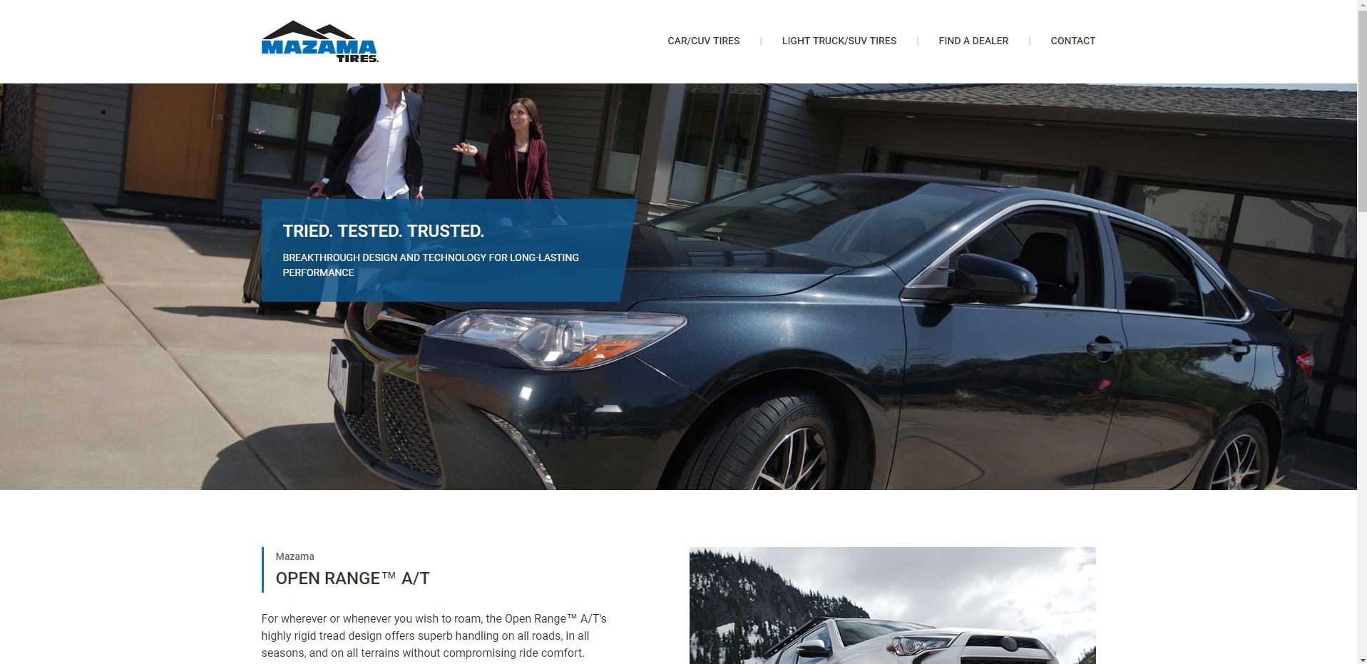 Фото Интернет магазин Mazama Tires. Support по Frontend. Продажа автомобильных покрышек в Клифорнии от Les Schwab. https://www.mazamatires.com/