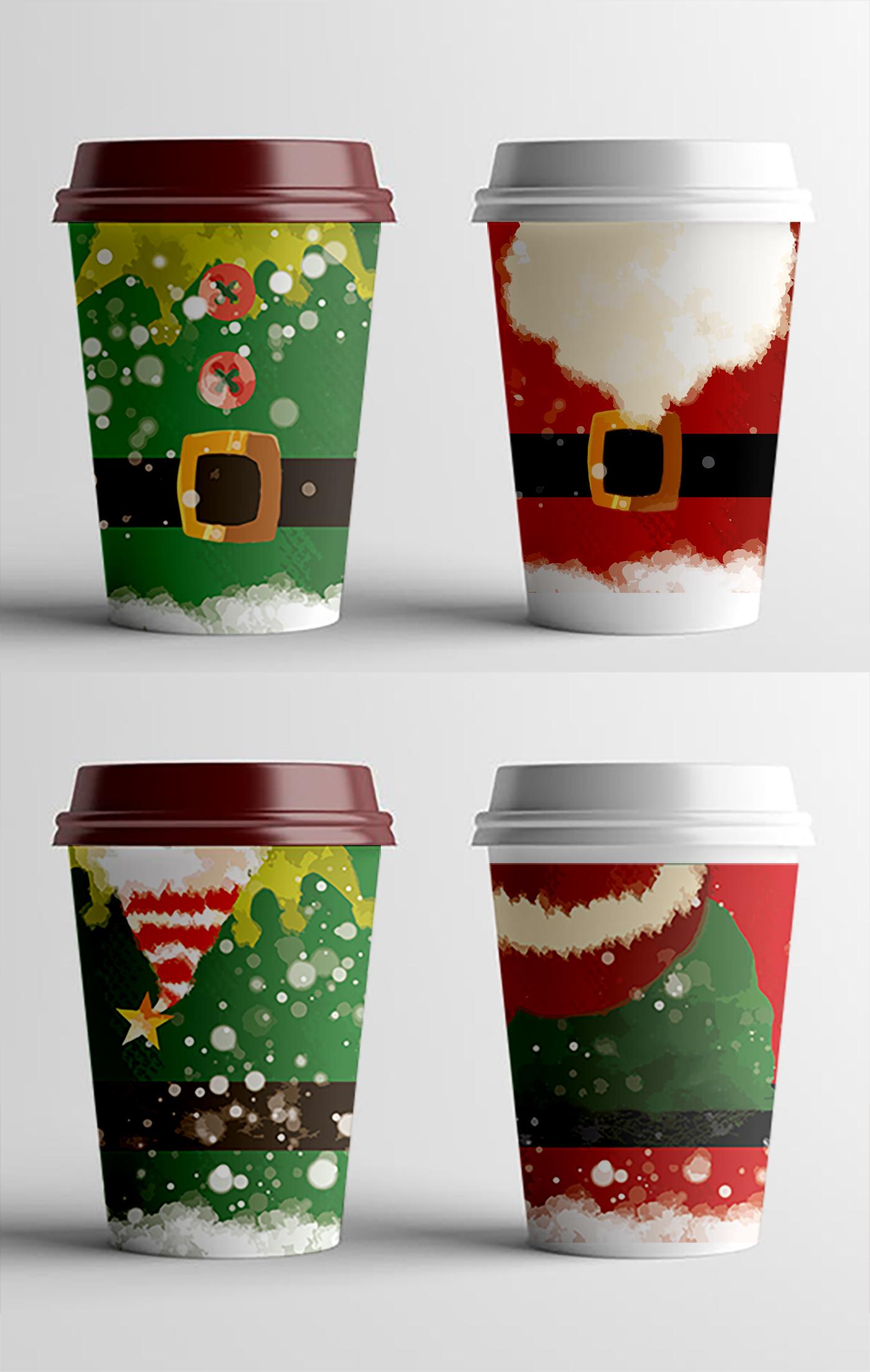 Фото Дизайн новорічного принту для стаканчикі