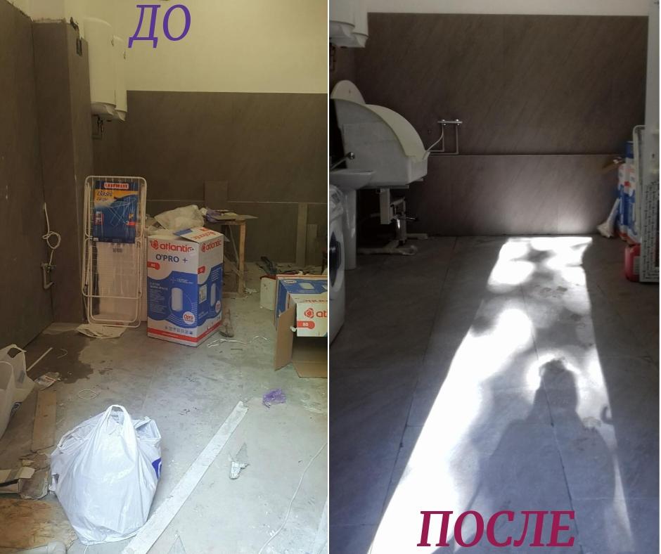 Фото Уборка помещения после ремонта. Мойка стеклянной перегородки между помещениями, 2 дверей (входная деревянная и стеклянная) Чистка от цементного раствора, подметание и мойка лестницы между помещениями, стен, пола.