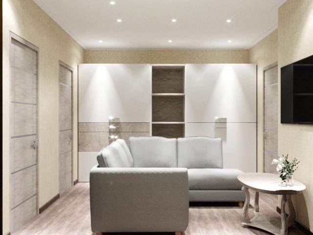 Фото 3D визуализация гостинной