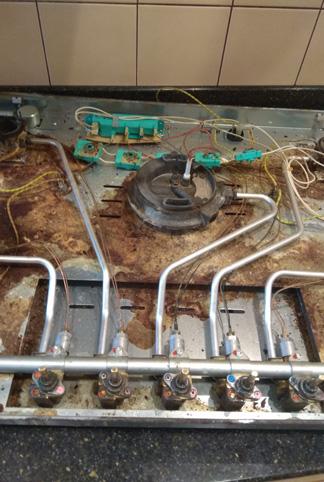 Фото Газовая поверхность Miele пяти конфорочная. Не проворачиваются два крана, нет подачи газа на две конфорки. Время работы 2 часа