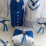 Декор свадебного шампанского, бутоньерки, подушечки, бокалы и пр