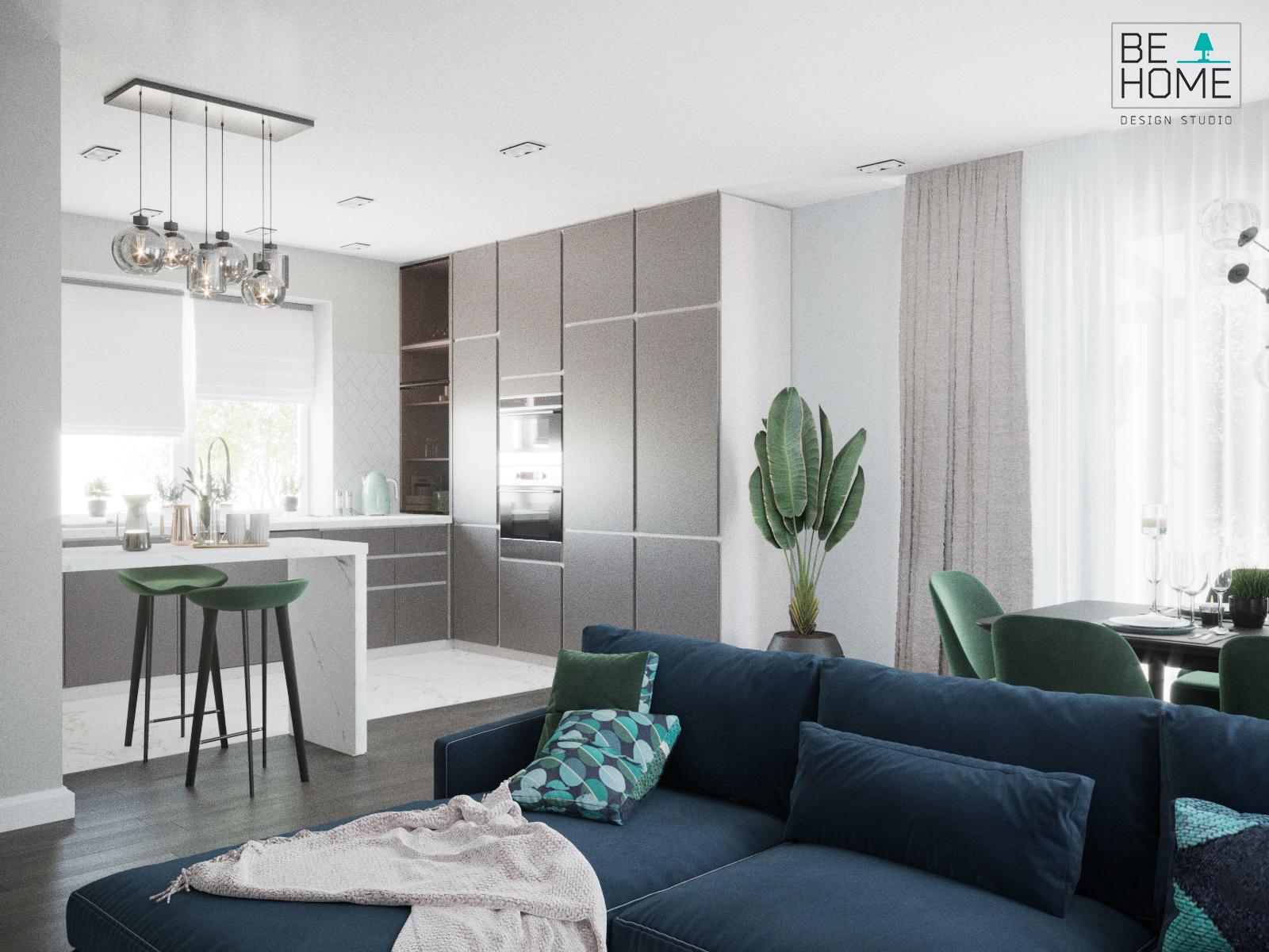Фото Дизайн кухни-гостиной (визуализация)