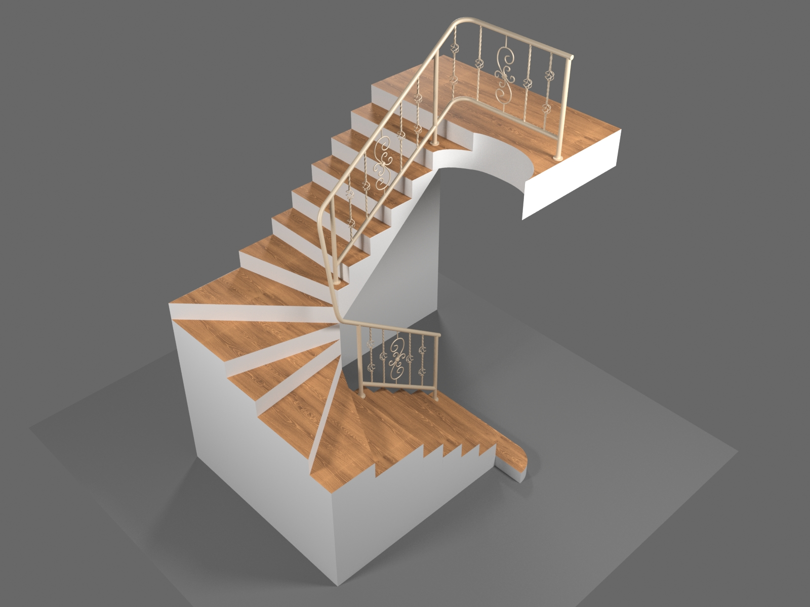 Фото LowPoly моделирование лестницы с перилами из кованых элементов. 3D max Corona render