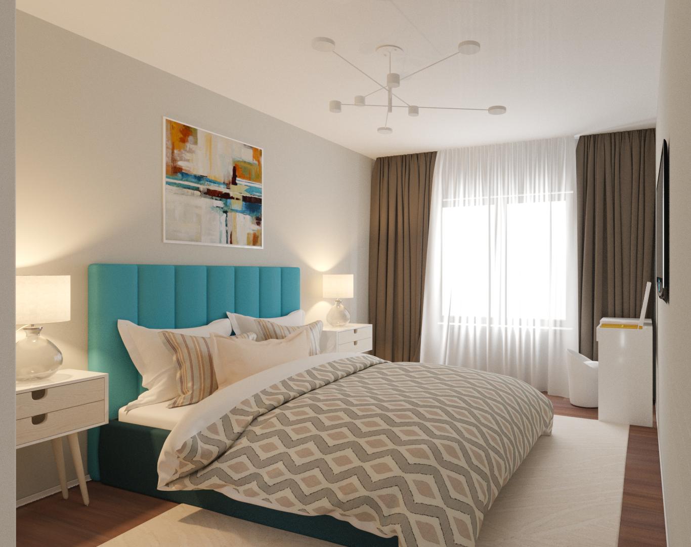 Фото Визуализация спальни в рамках дизайн проекта. Квартира 54 кв.м