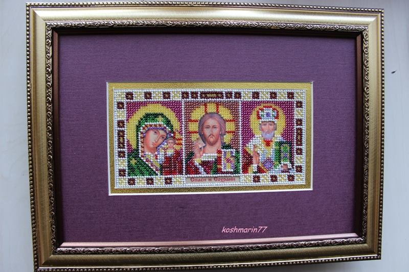 Фото Икона-триптих, вышита чешским бисером