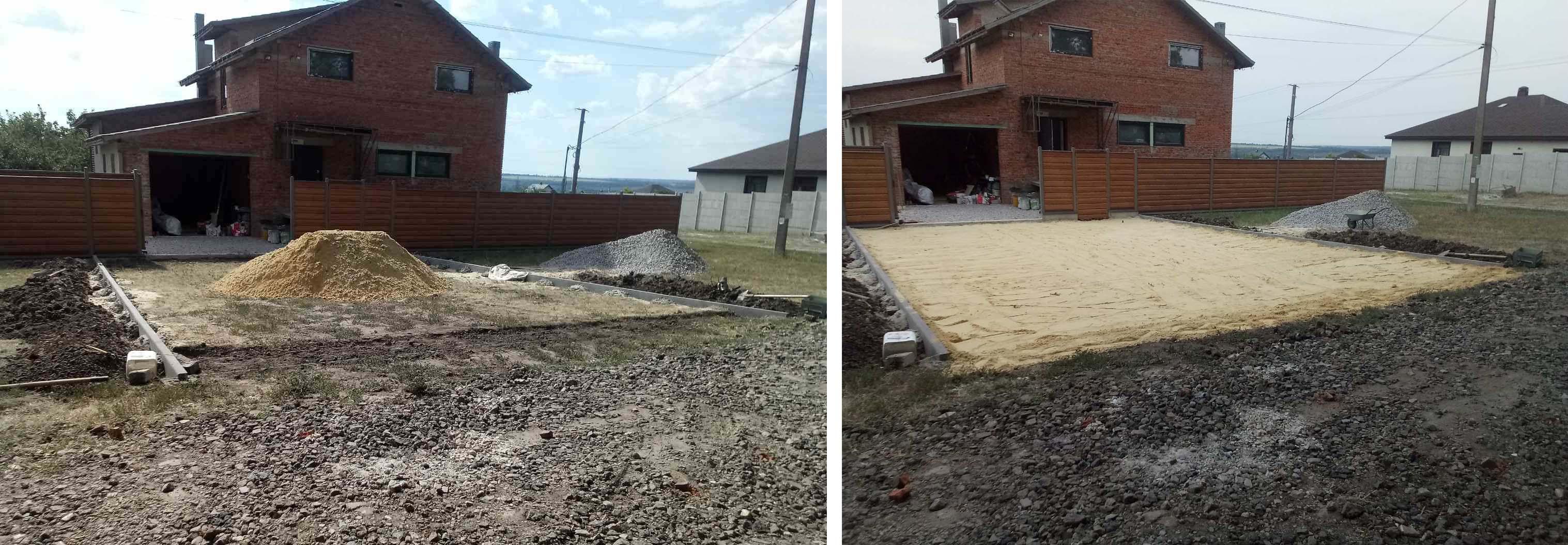 Фото Конец августа 2020 года. Малая Даниловка. Планировка песка на въезде. Объём примерно 6 кубометров. Затраченное время 6 часов. Площадь 100 квадратных метров. Тачка, лопаты, грабли и каток были предоставлены Заказчиком.