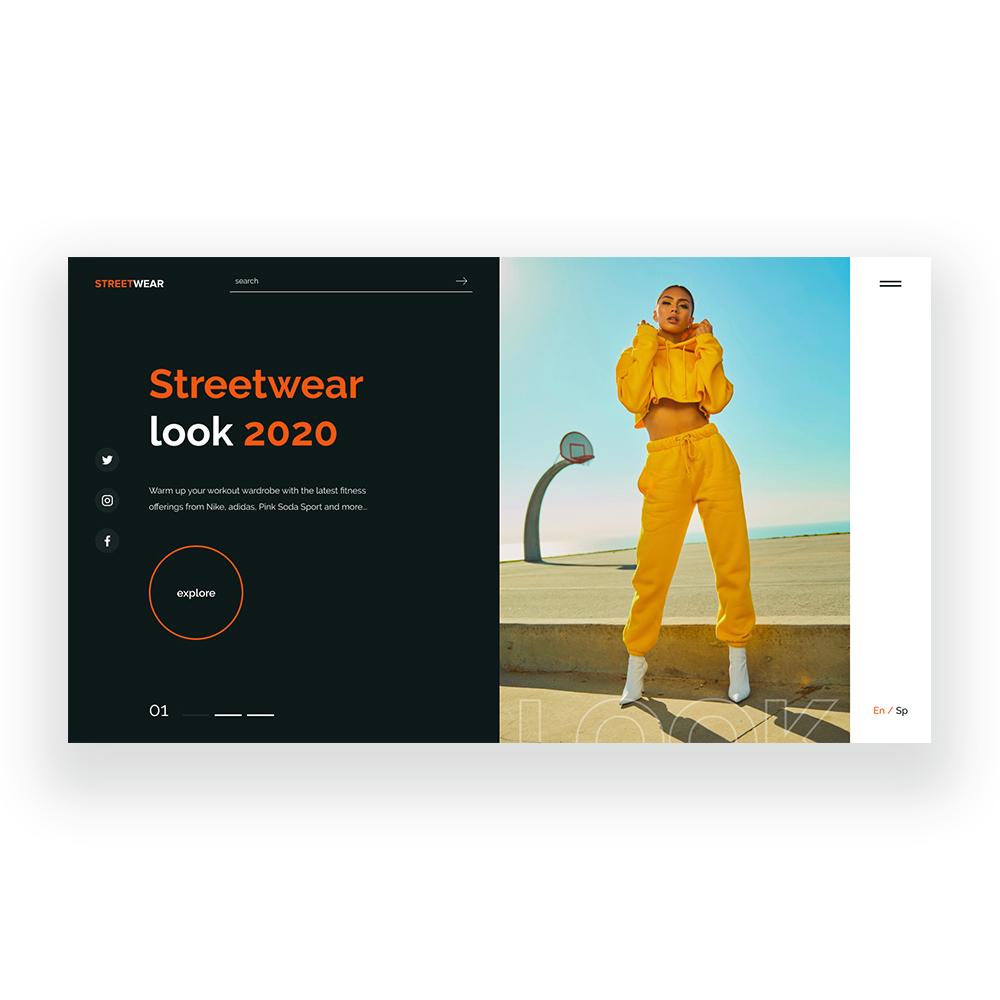 Фото Разработана концепция главного экрана (веб-дизайн) для интернет магазина бренда STREETWEAR Среда разработки: Фигма Время работы: 4 часа