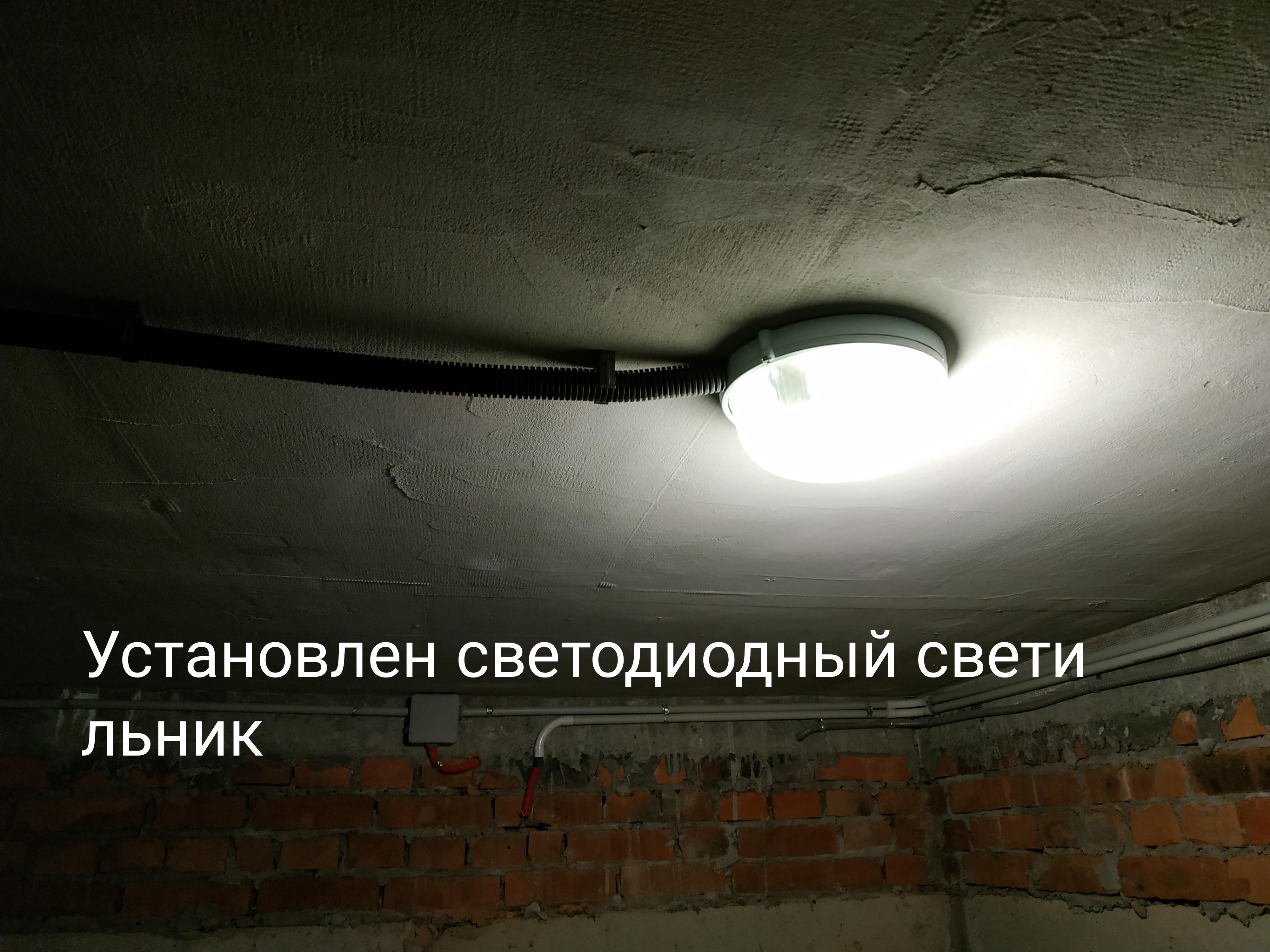 Фото Демонтировал и навел порядок в подвальной кладовке с проводами, оставил нужные. Вывел на потолок светодиодный светильник.