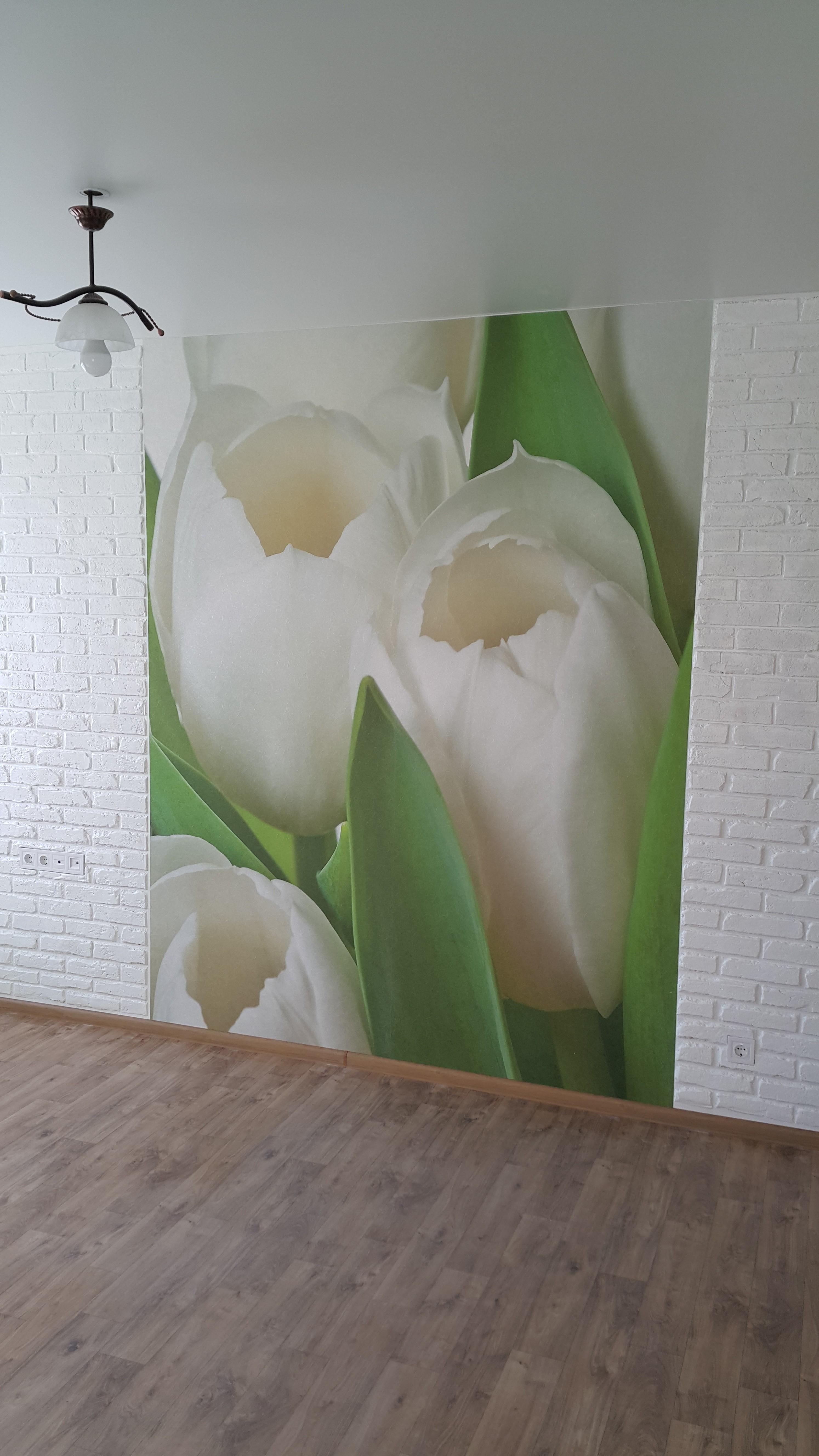 Фото Декоративный кирпичик из шпаклёвки и поклейка фотообоев