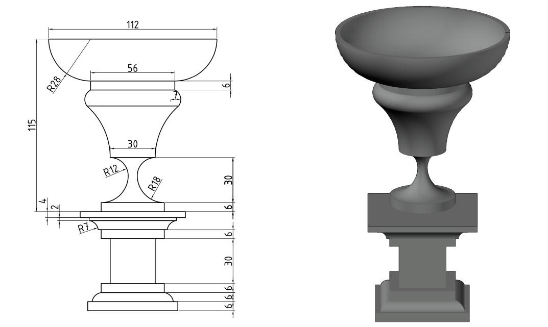 Фото Создание чертежа и 3д модели вазы на постаменте в AutoCAD, потрачено 3 часа
