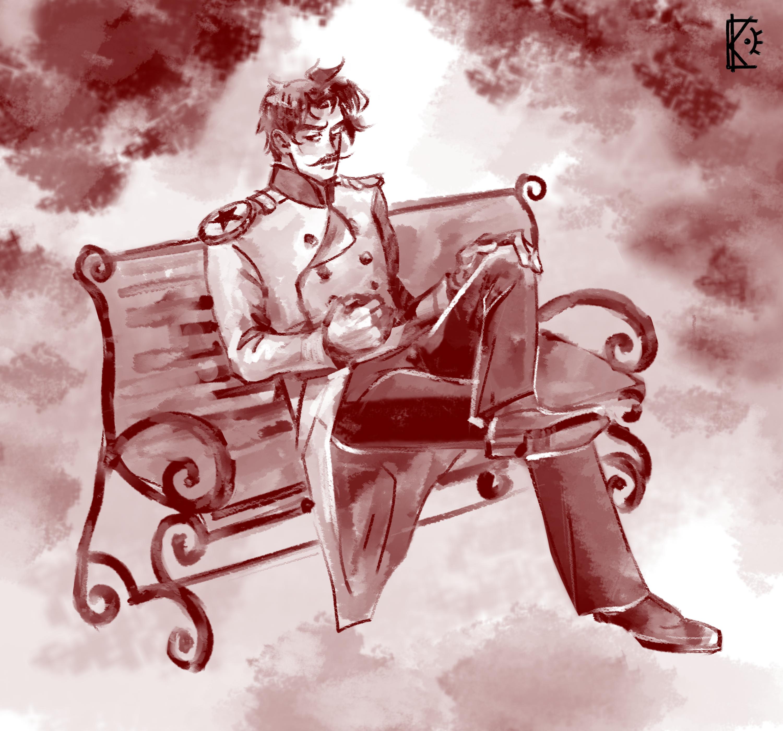 Фото Иллюстрация под старину с оригинальным персонажем.