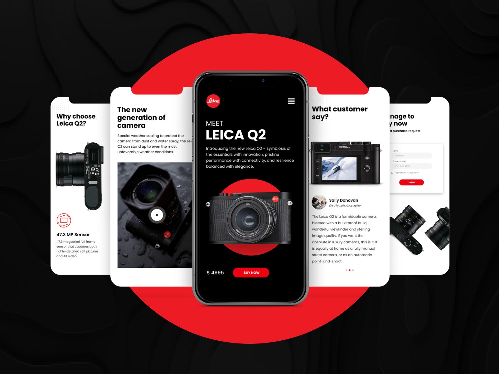 Фото Дизайн мобильной версии сайта для всемирно известного производителя фотоаппаратов Leica Camera AG.