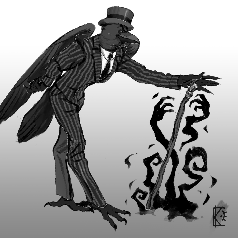Фото Иллюстрация в готическом стиле с оригинальным персонажем.