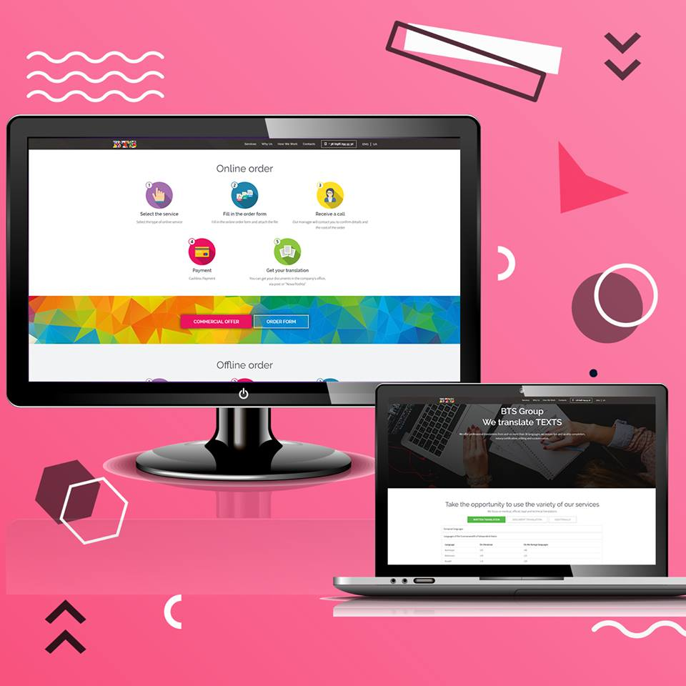 """Фото Заказчик бюро переводов """"BTS Group"""" получил полный спектр услуг по созданию дизайна, по вёрстке, по программированию, по наполнению и размещению сайта в Интернете. То есть полностью рабочий, заполненный и уже функционирующий в Интернете сайт."""
