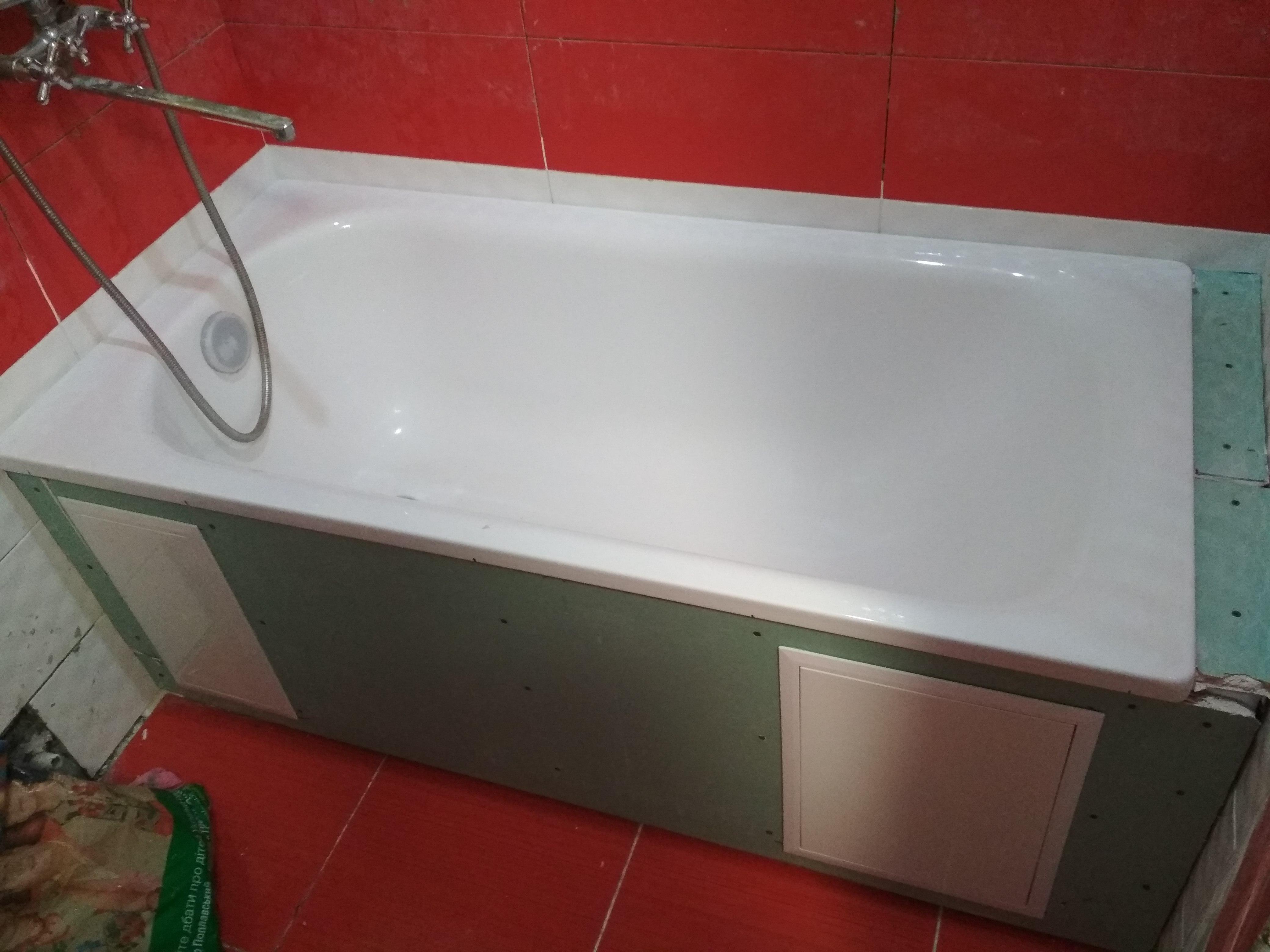 Фото Установка гипсокартоного короба в ванной. Выполнено за три часа.