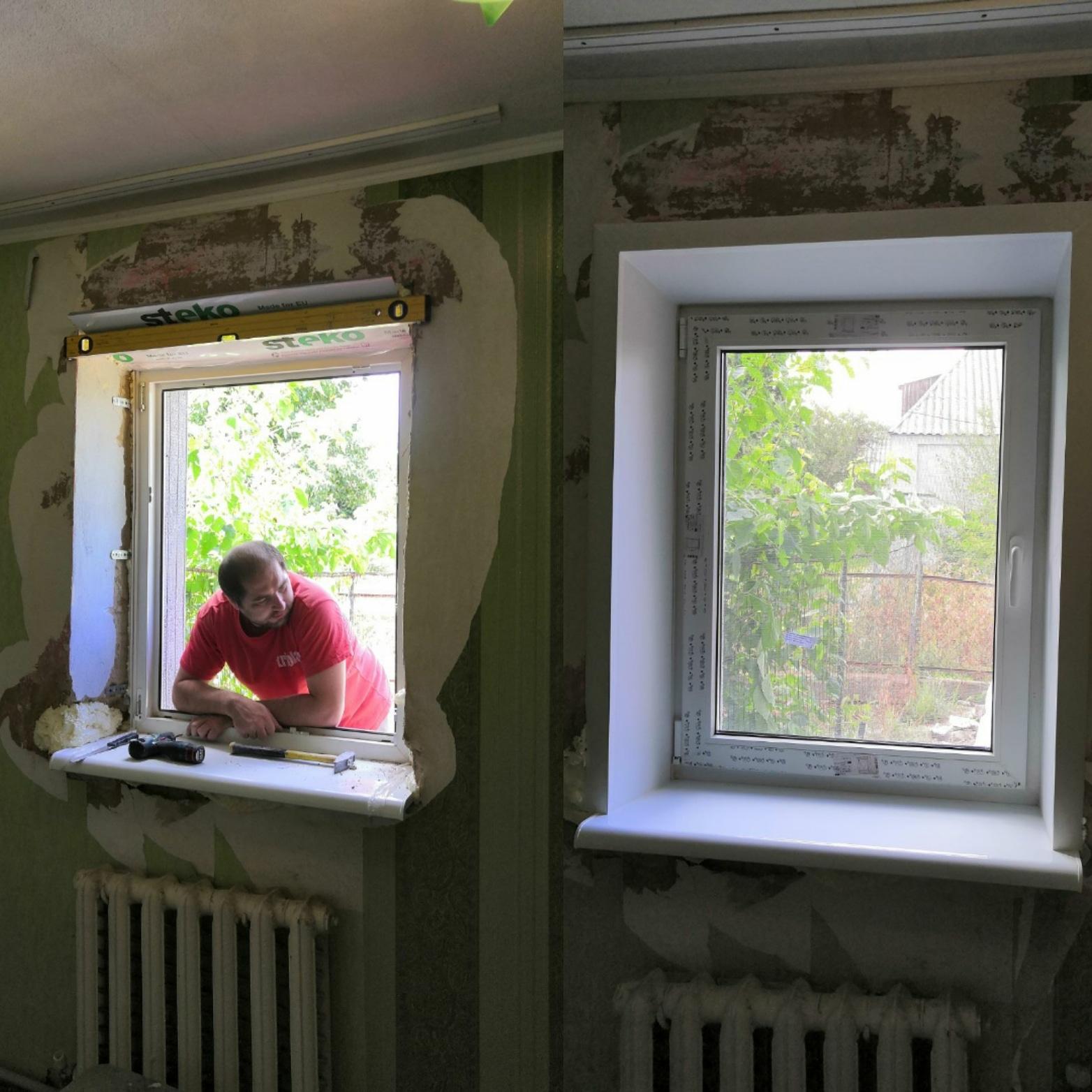 Фото Утеплённые откосы из термопанелей для Оксаны в Краснополье и установка окна,профиль Rehau