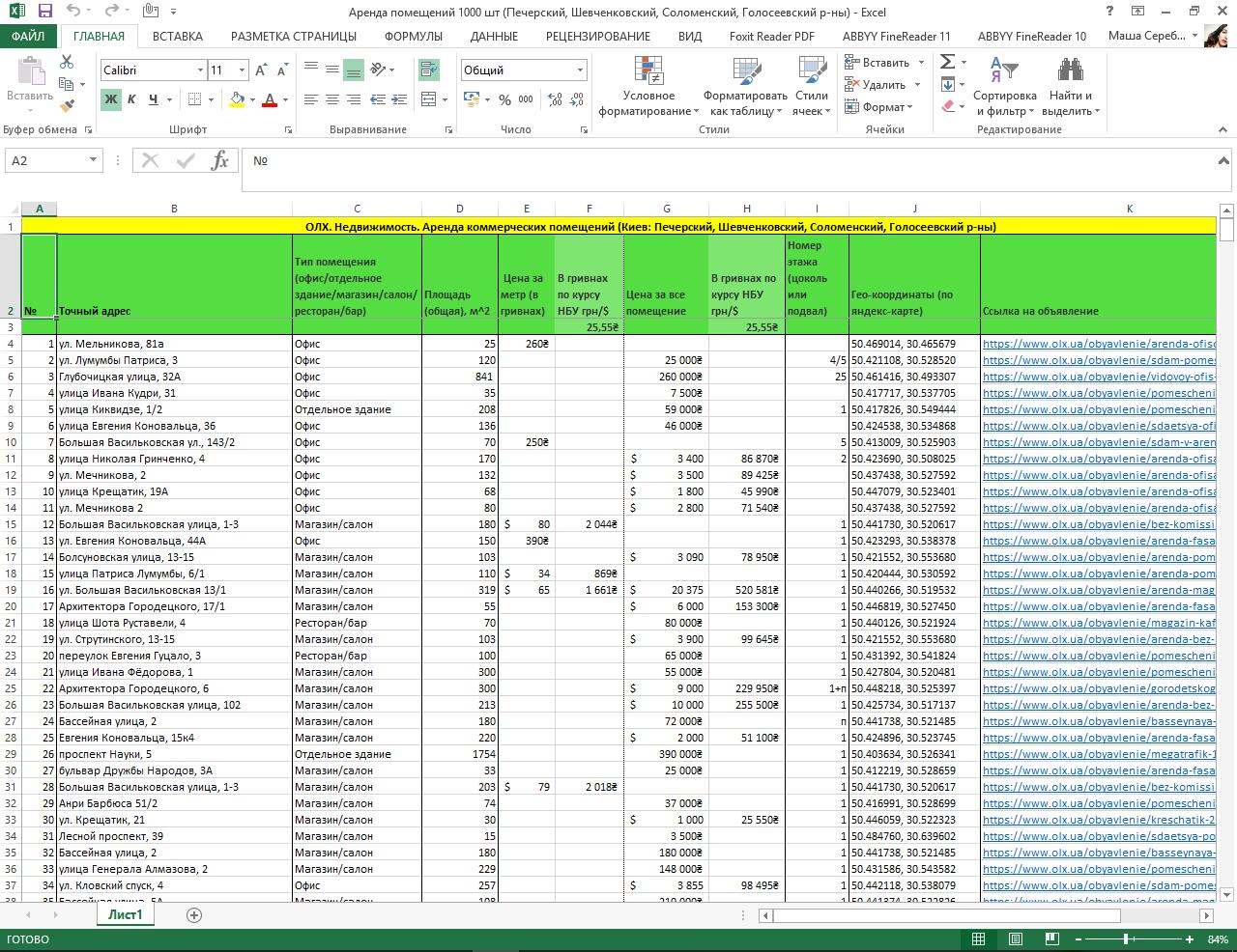 Фото Поиск и ввод данных объявлений в Excel. Работа с таблицами Excel и сайтом объявлений ОЛХ.