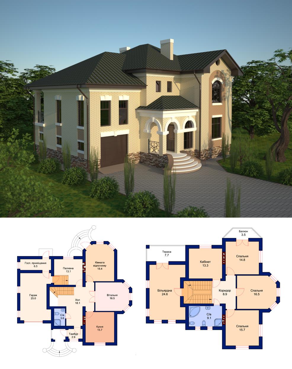 Фото Проект індивідуального двоповерхового житлового будинку з вбудованим гаражем. Виконано стадію ЕСКІЗ; АРХІТЕКТУРНІ РІШЕННЯ; КОНСТРУКТИВНІ РІШЕННЯ