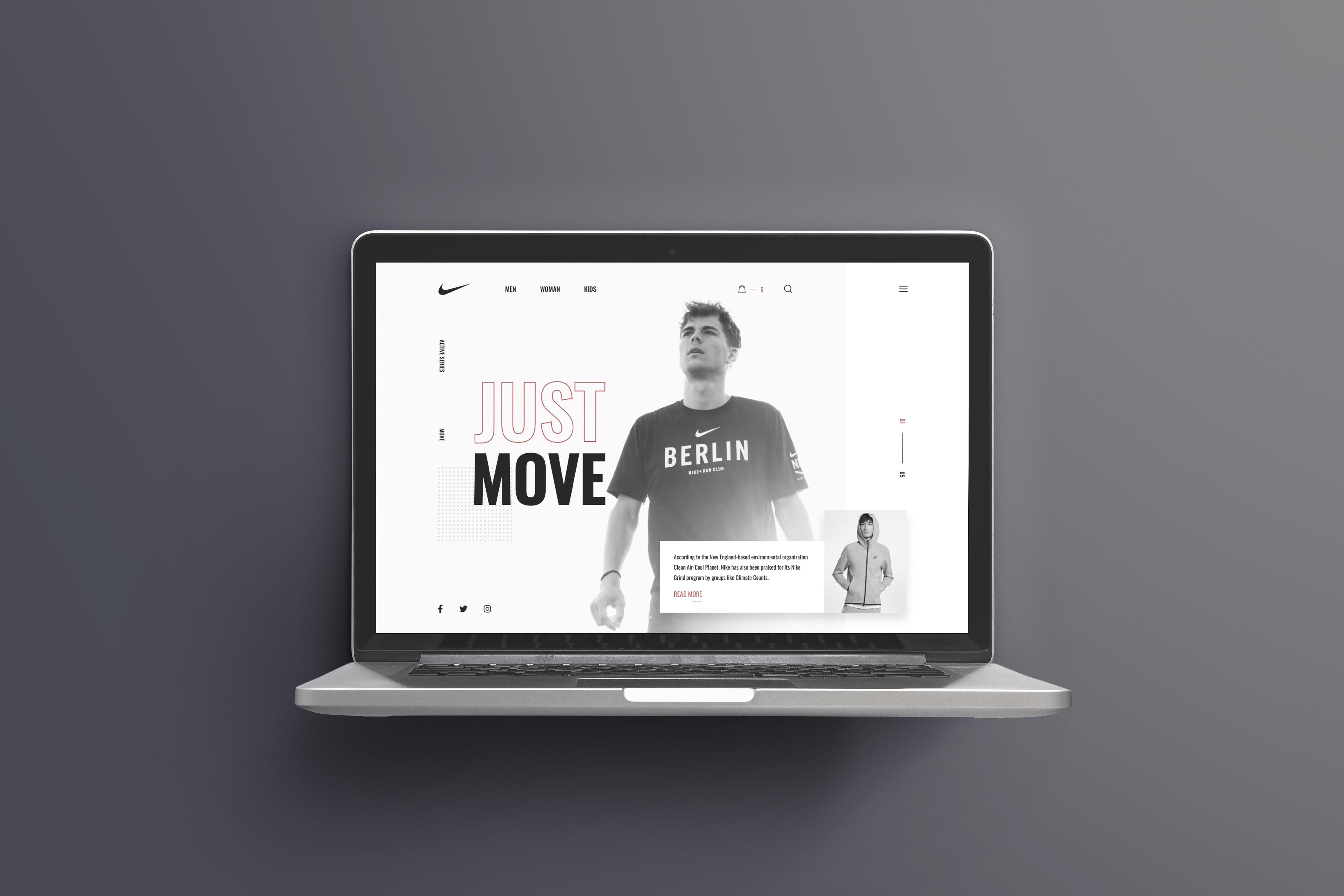 Фото Разработана концепция главного экрана (веб-дизайн) для интернет магазина бренда NIKE Среда разработки: Фигма Время работы: 3 часа