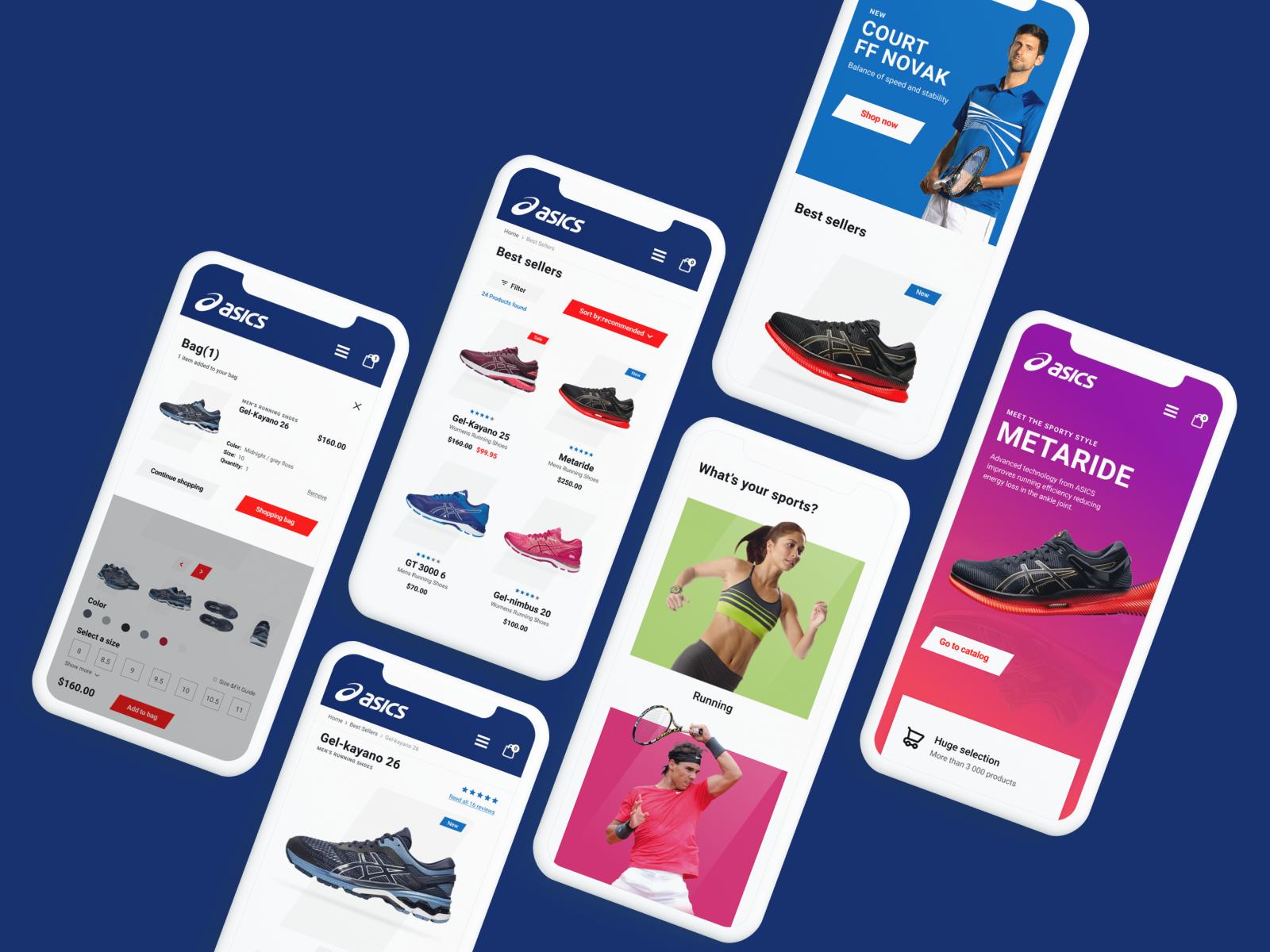 Фото Дизайн мобильной версии сайта для всемирно известного производителя кроссовок Asics.