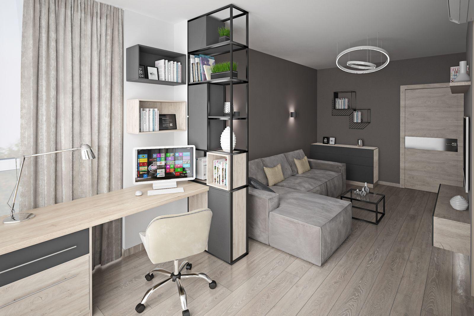 Фото Дизайн гостинной. Разделение на рабочее место и гостинную.