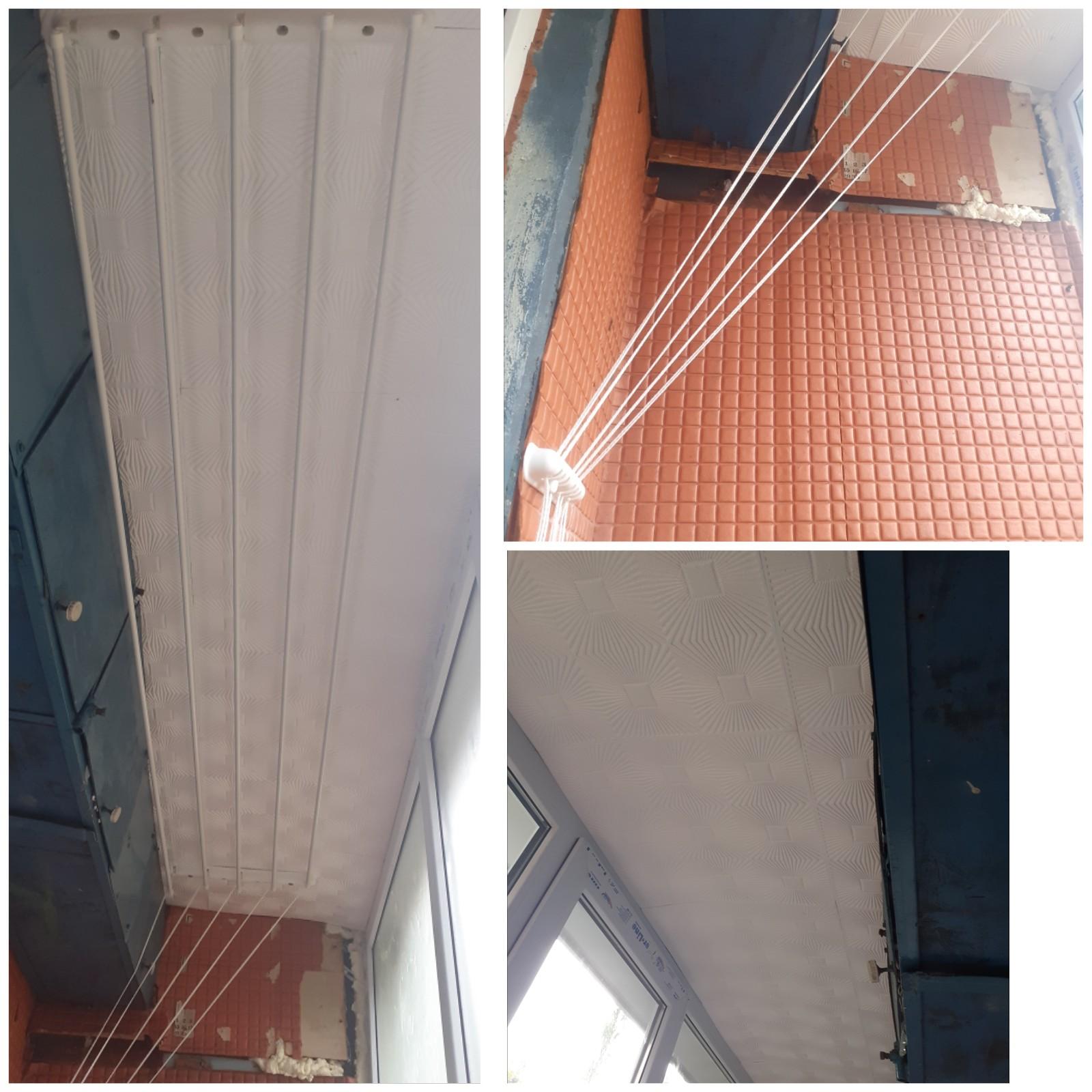Фото Установка 2метра сушки на потолок балкон