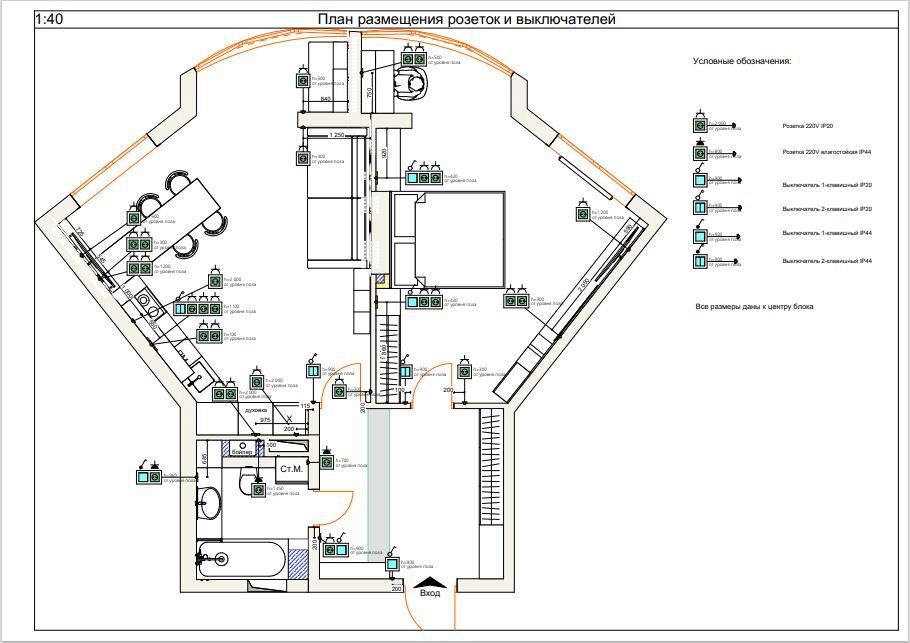 Фото План размещения розеток и выключателей с мебелью