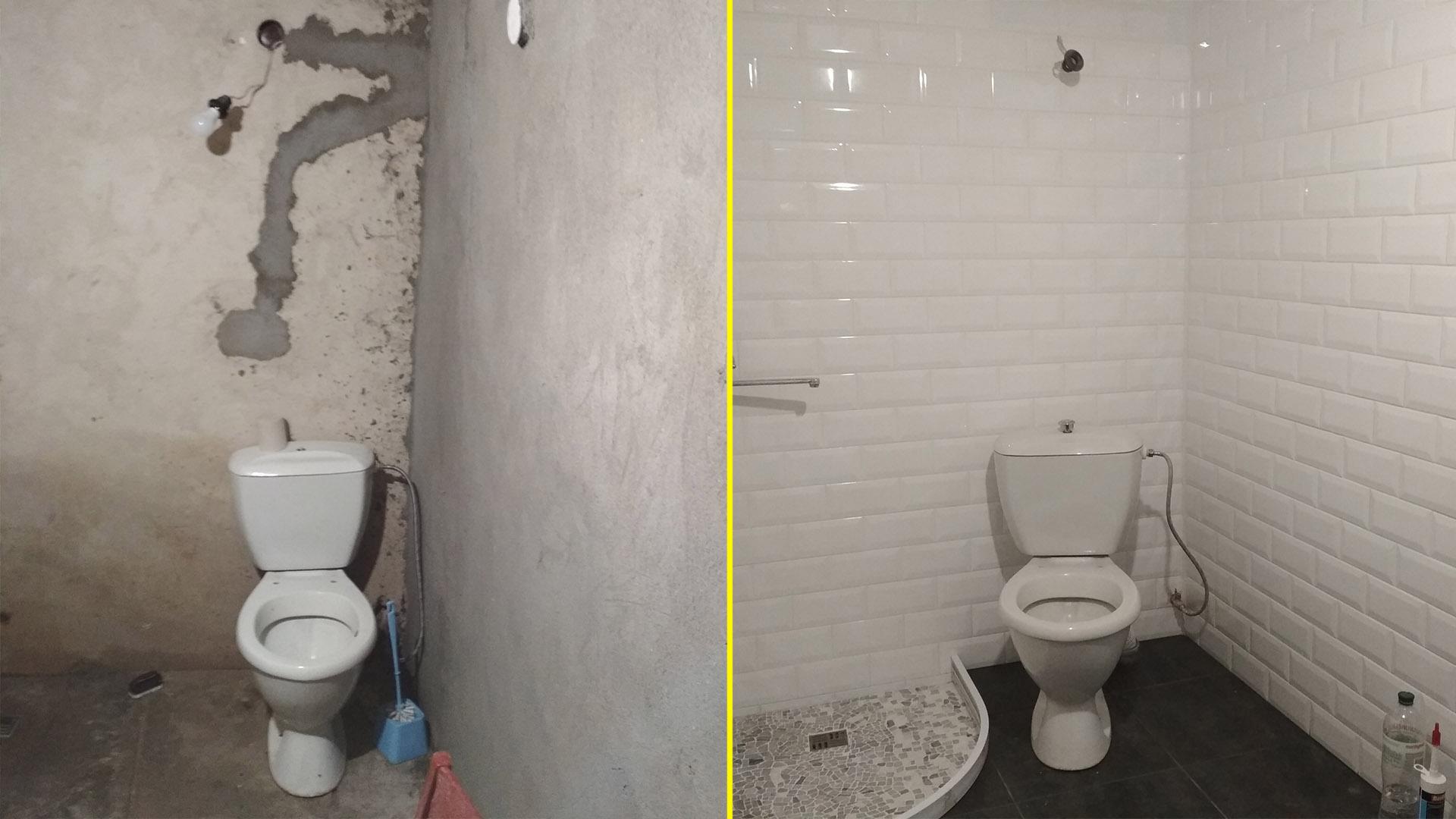 Фото Стяжка пола. Оштукатуривание стен. Укладка плитки на пол и стены. Укладка мозаики на душевом поддоне.