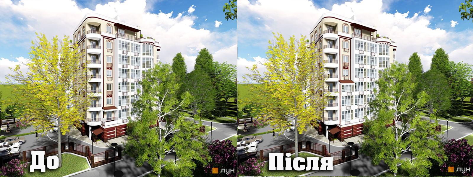 Фото Завдання: змінити проект...перемалювати, перенести піддашок вище з 1 поверху на 3, та застіклити перші три поверхи лоджами замість звичайних вікон