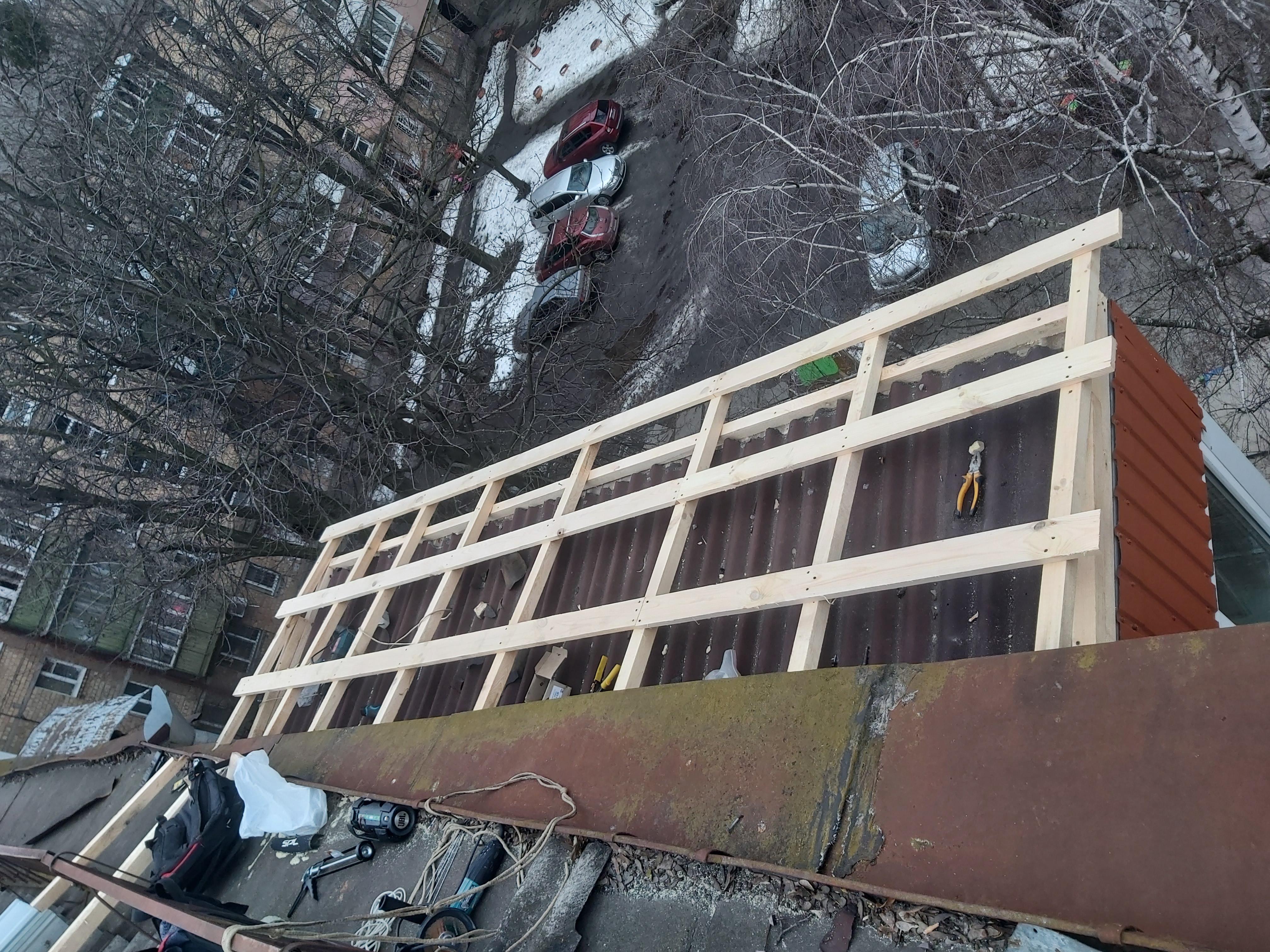 Фото Нова крыша на балкон, поверх старой