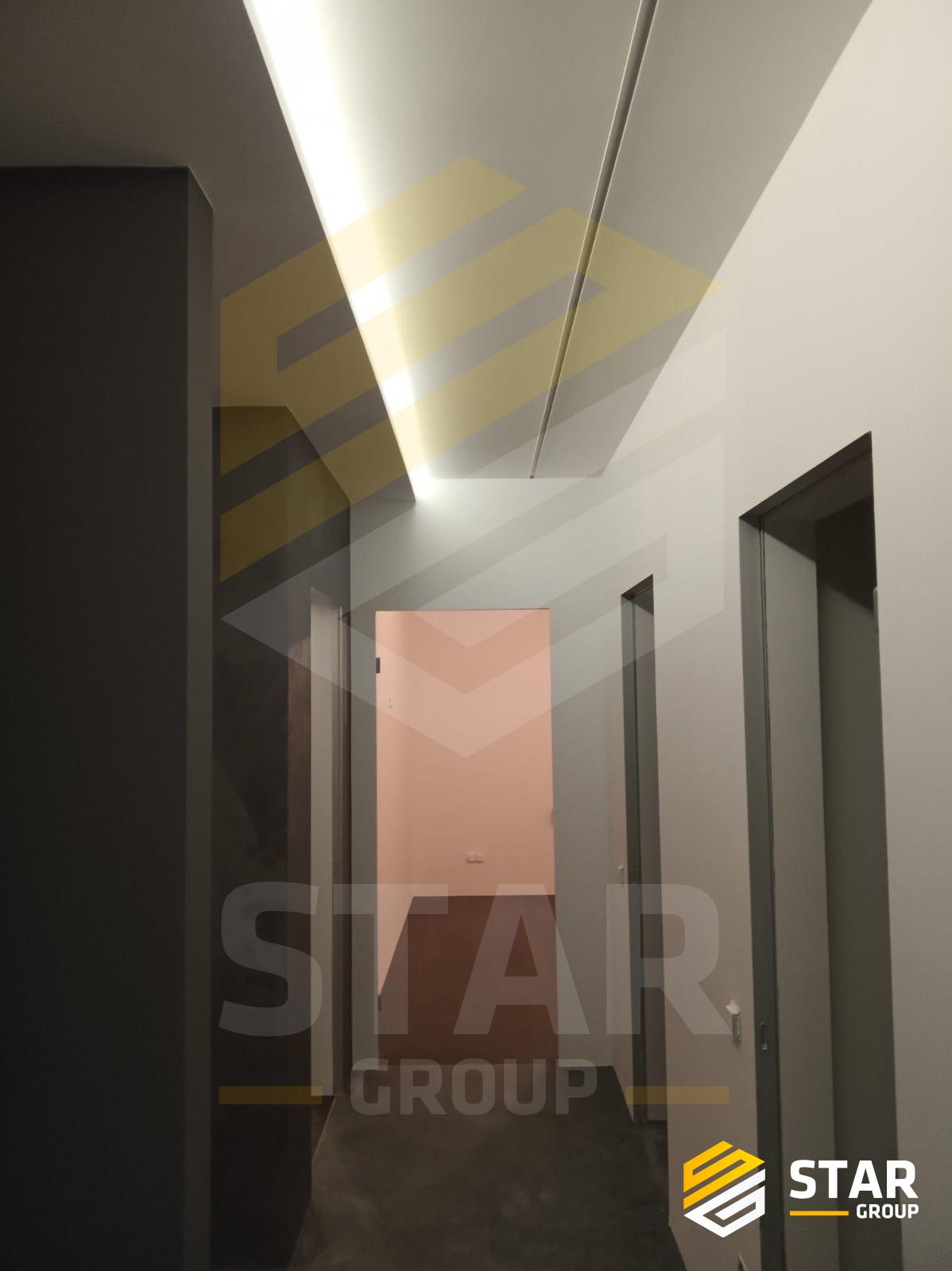 Фото -Монтаж потолка из ГКЛ -Шпаклевка -Покраска -Декоративная штукатурка