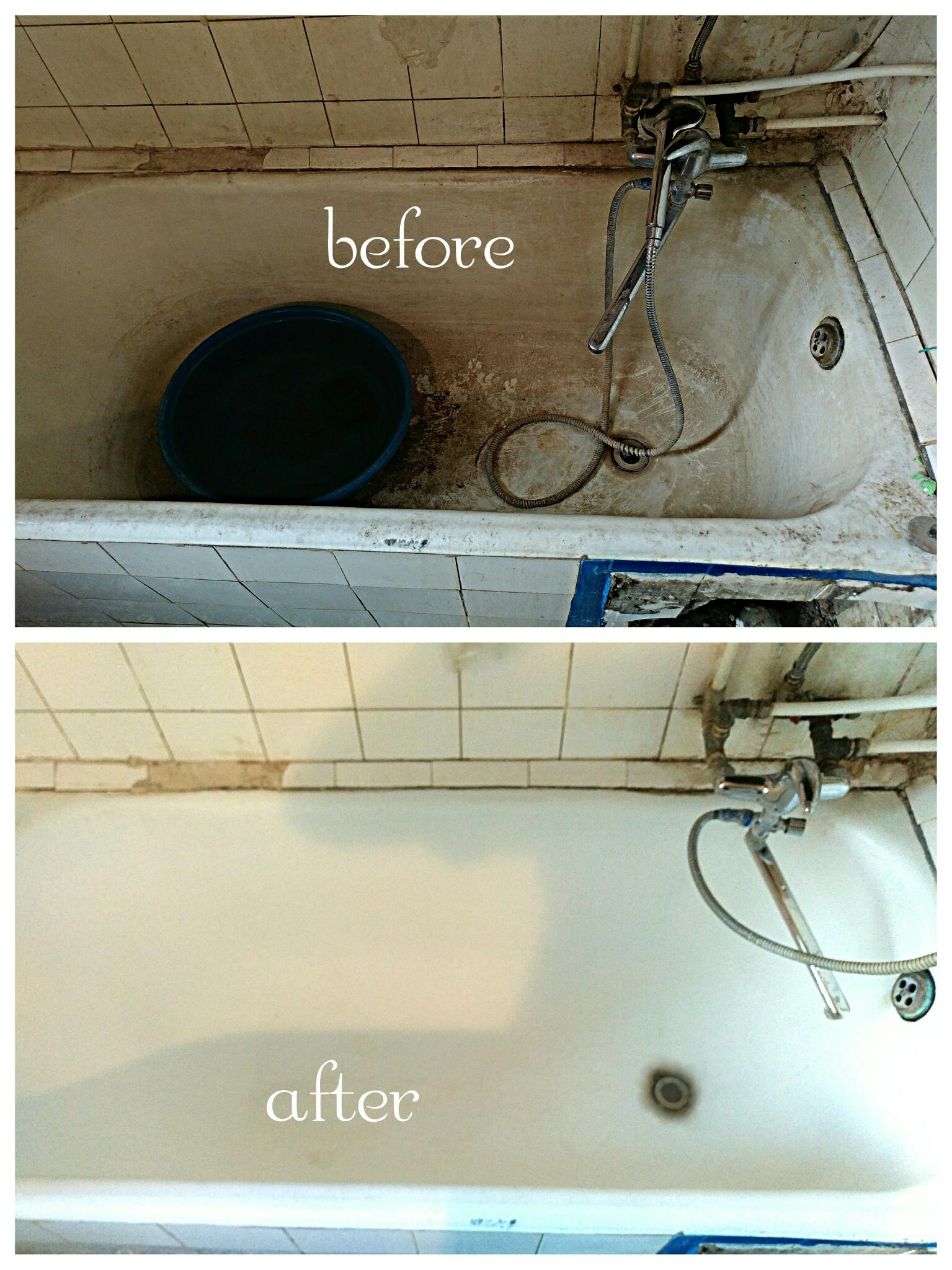 Фото Очистка ванной, смесителя и плитки вокруг ванной . От водного камня, мыльного налета  и плесени. 1000 грн. На работу ушло  4 часа.