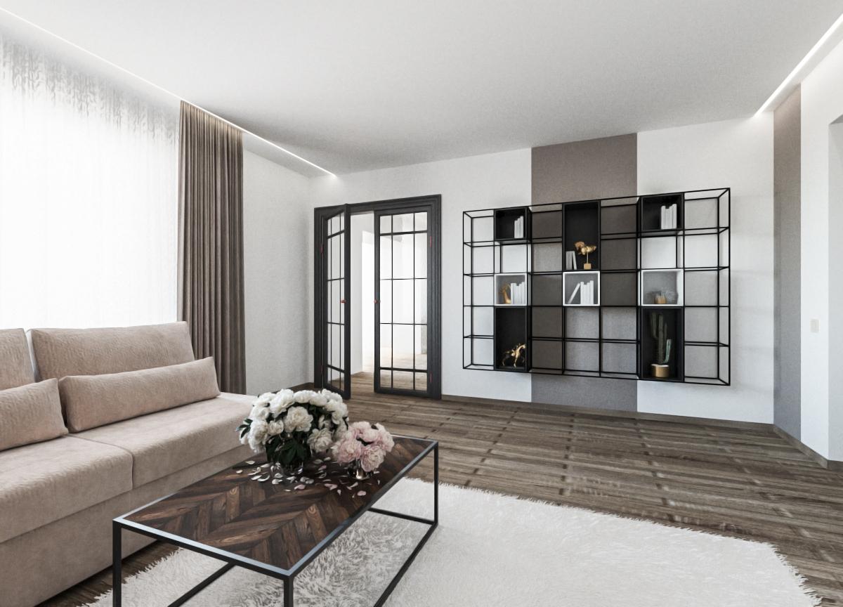 Фото Дизайн гостиной в современном стиле с применением скандинавских элементов и блеска.