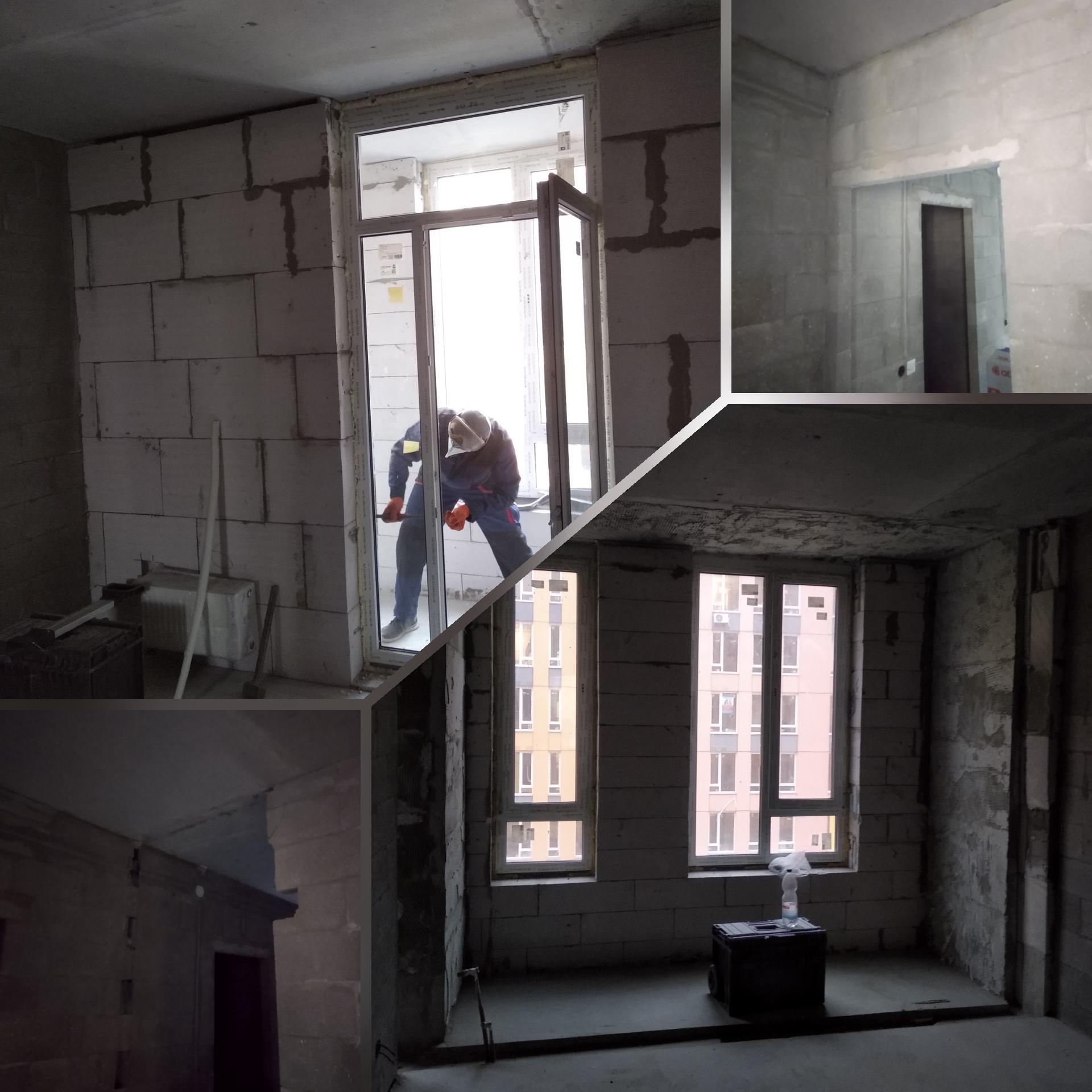 Фото Демонтаж балконного блока, дверного проёма. ЖК Комфорт Таун