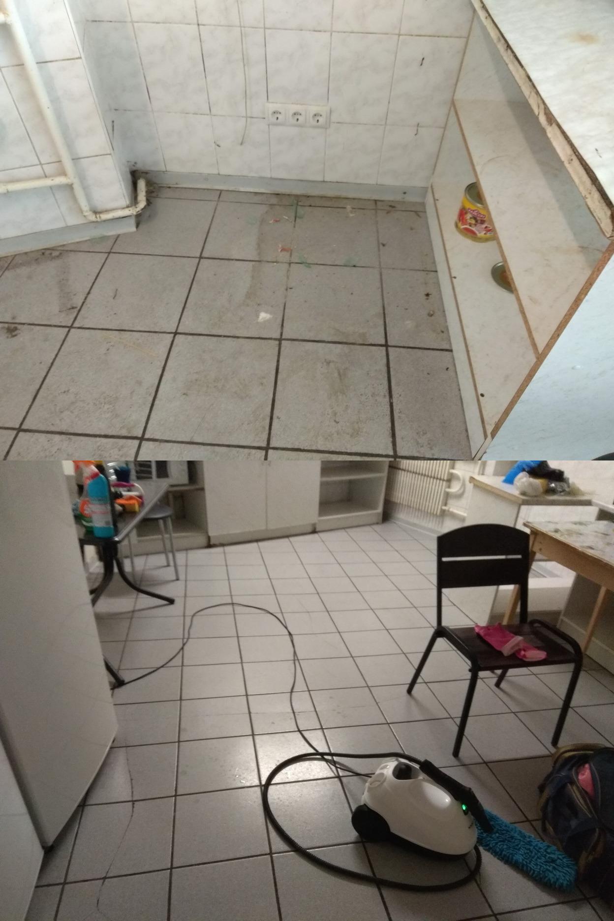 Фото Уборка кухни для приготовления обедов. Вымыта кухня и санузел площадью 30 кв.м. Чистка стен, потолка, бойлера, столов, раковин, вытяжки, полов от жира, грязи. Работа заняла 7 часов. Стоимость составила 800грн.