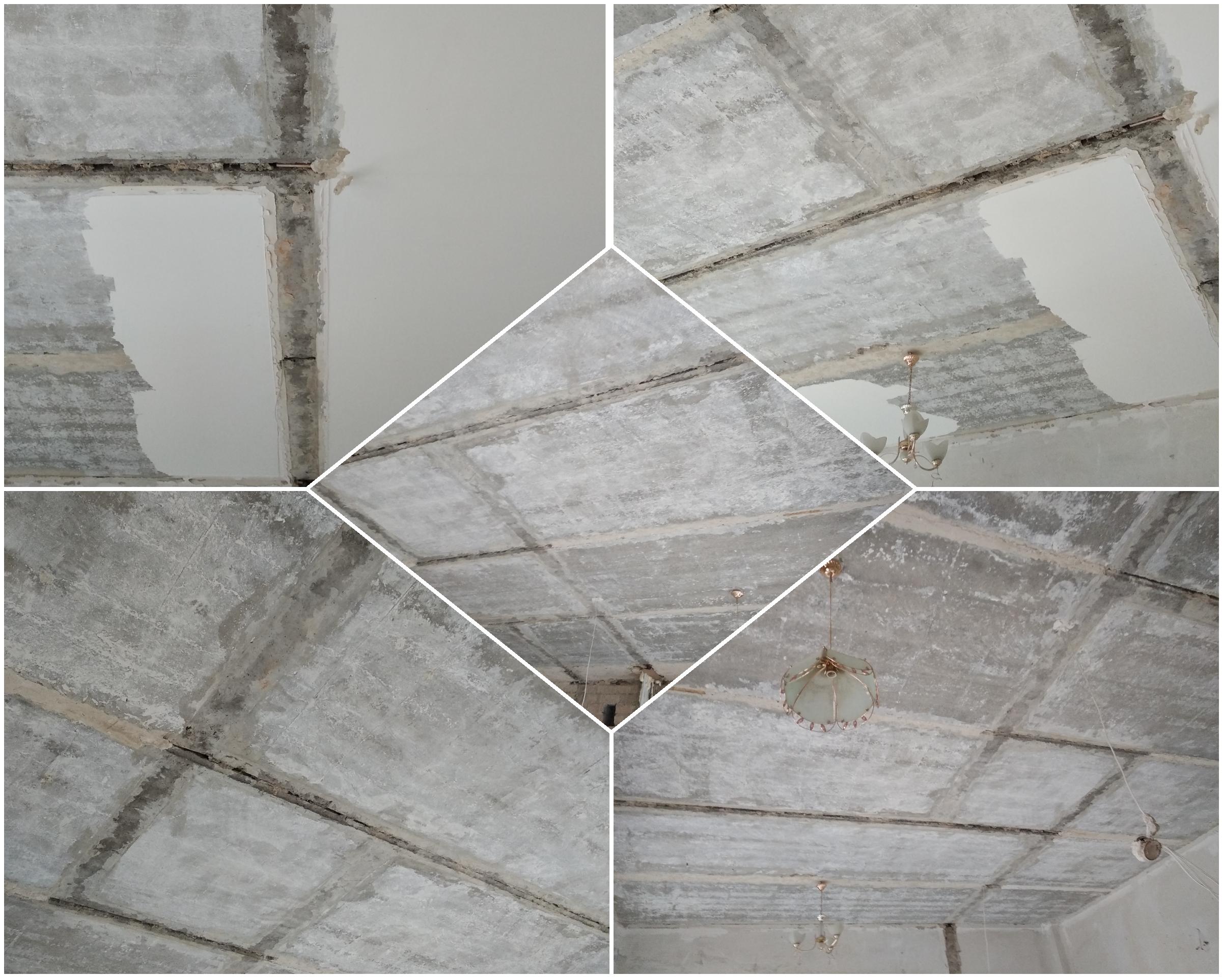 Фото Очистка потолка от старой шпаклёвки. Шпаклёвка окрашена водостойкой краской.