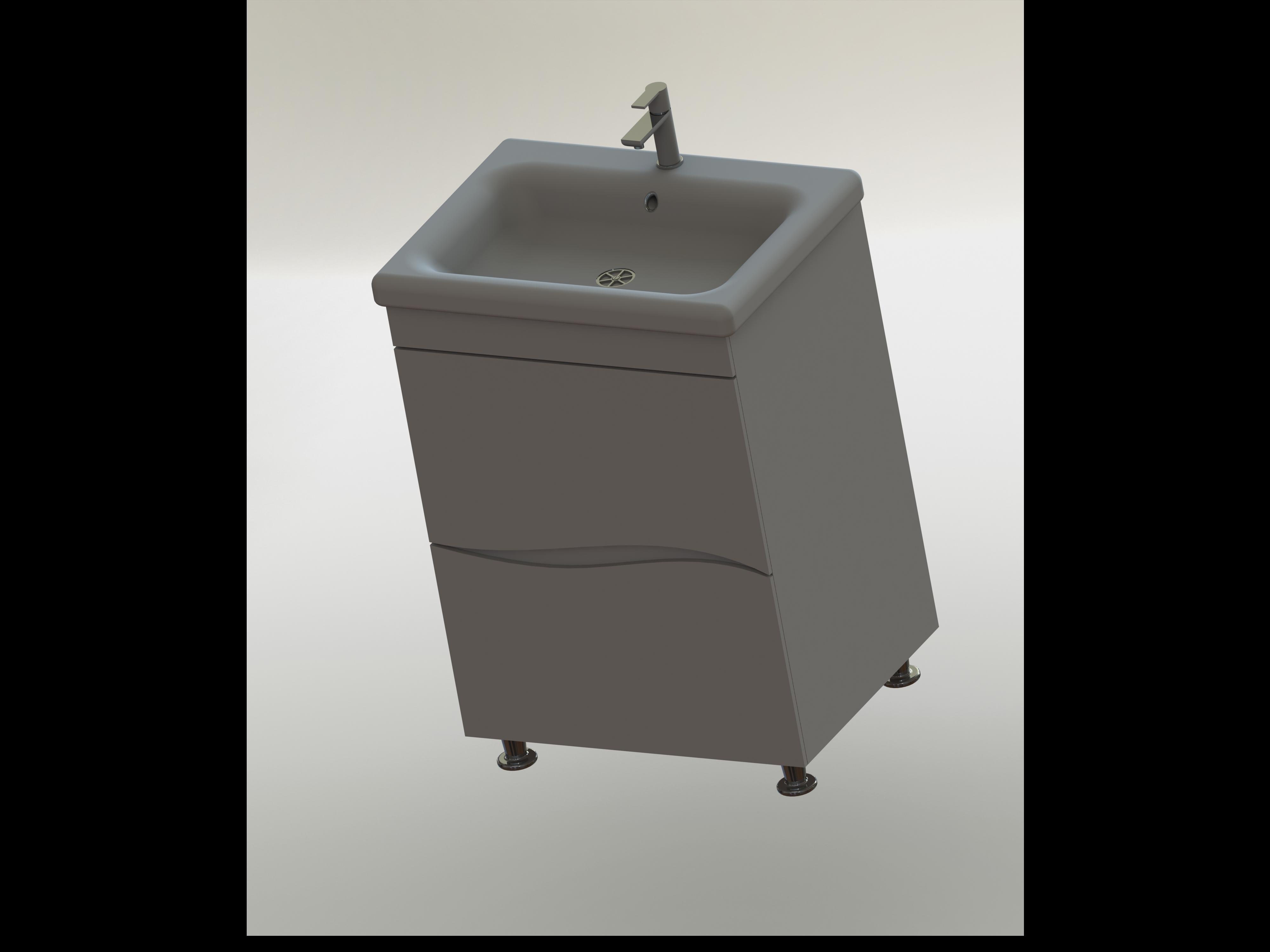 Фото 3D рендеринг тумбы с умывальником для ванной комнаты.