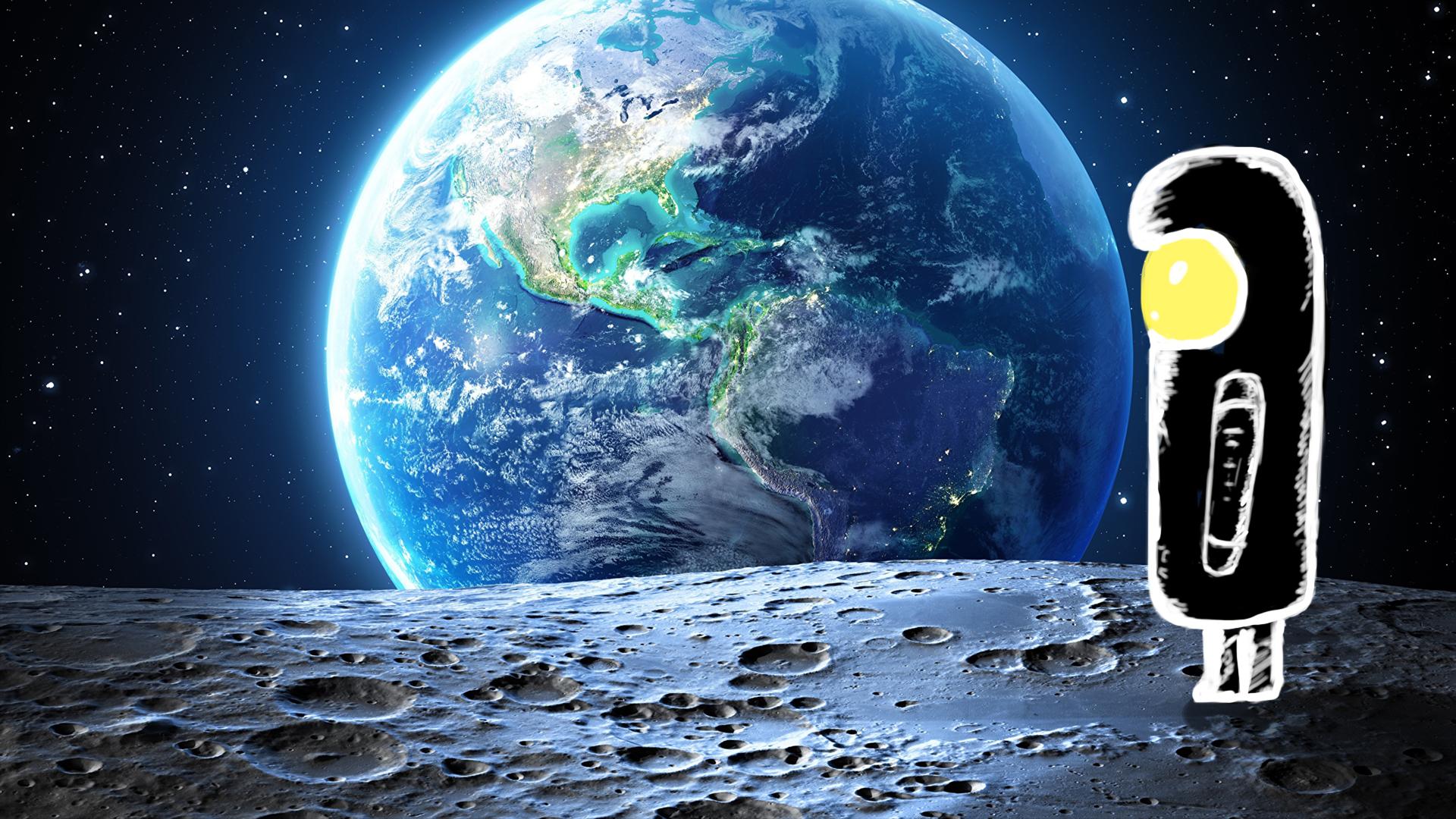 """Фото Нарисованный персонаж в """"скафандре"""" смотрит с Луны на Землю. Работа была выполнена в Photoshop. Земля была взята отдельно и  поверхность луны тоже.  Немного цвет-кора и фон готов. Потом дорисовал этого """"космонавта"""" и поставил на поверхность с добавлением тени. Было всё сделано примерно за 1 час."""