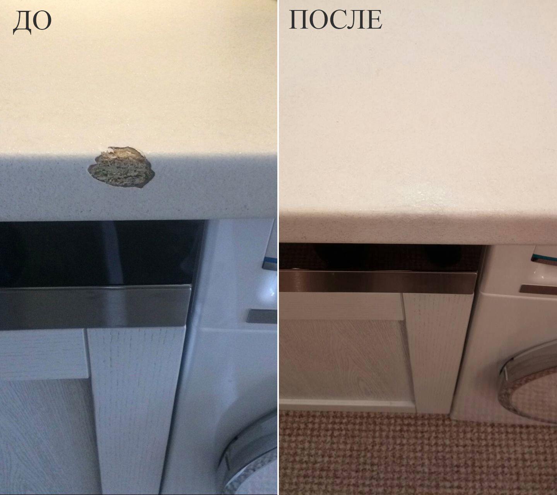 Фото Пример реставрации скола на кухонной столешнице из ДСП