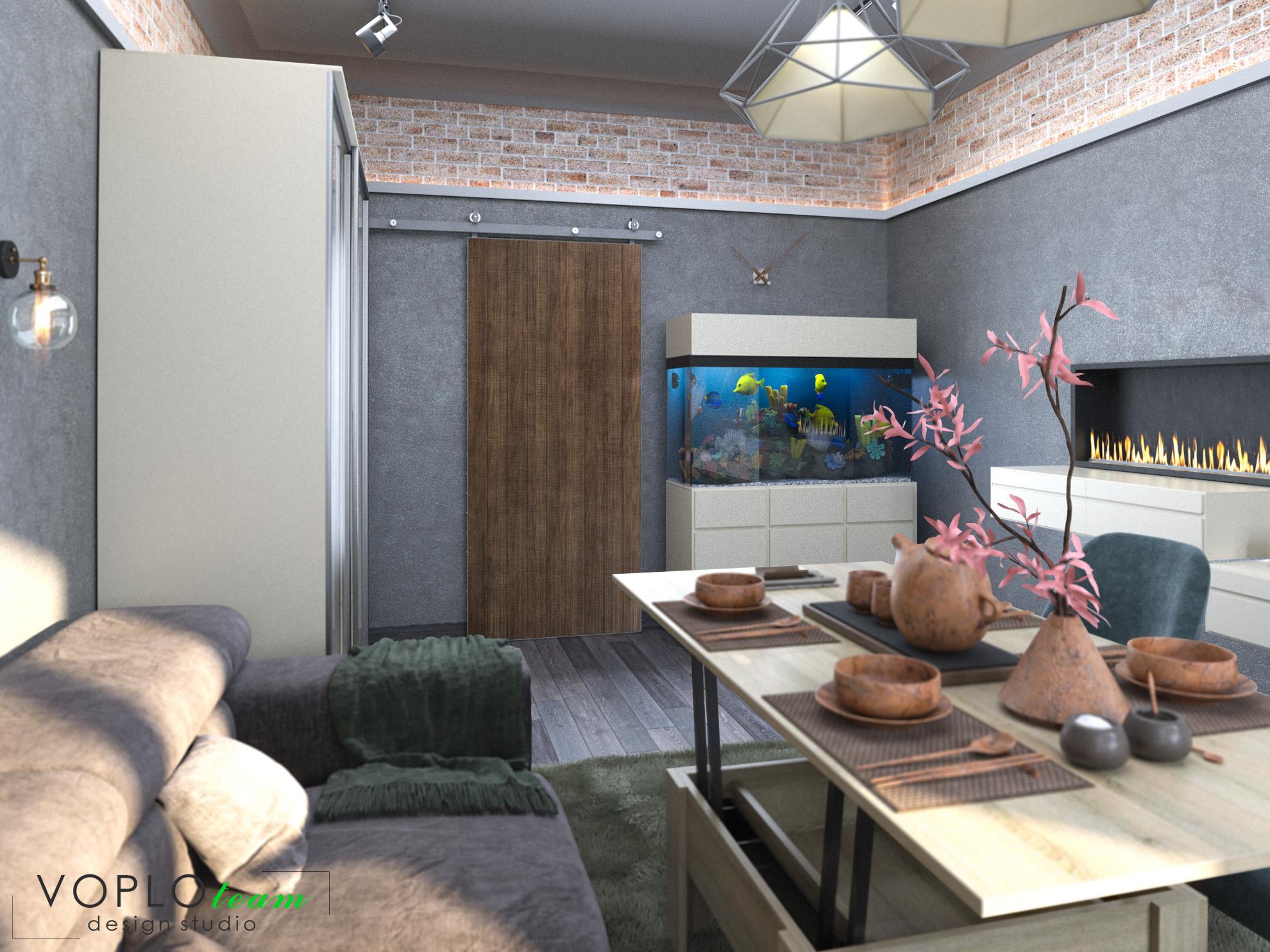 Фото Замовник вирішив зробити ремонт у старої квартирі на першому повірсі. Одно із умов-збереження акваріуму та вдале його розташування