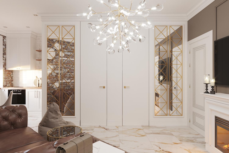 Фото Дизайн гостиной, двери в санузлы