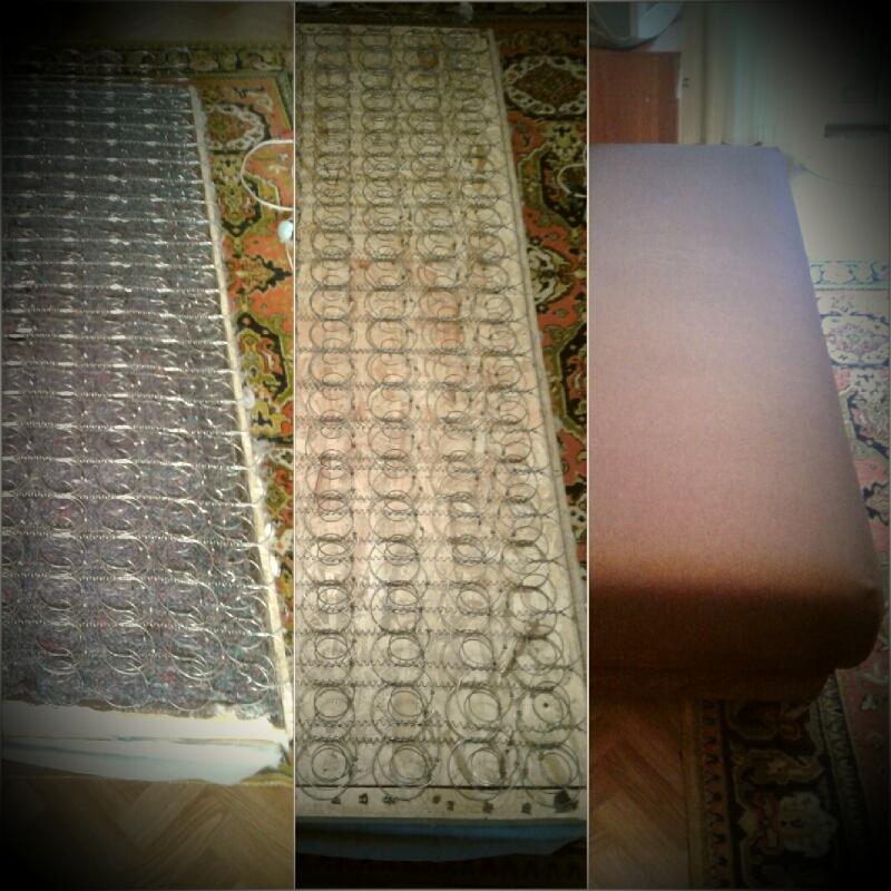 Фото ☆ Замена ламелей на лист OSB/ДСП; - Замена пружинного блока; - Добавка поролона и войлока; - Перетяжка новой тканью.