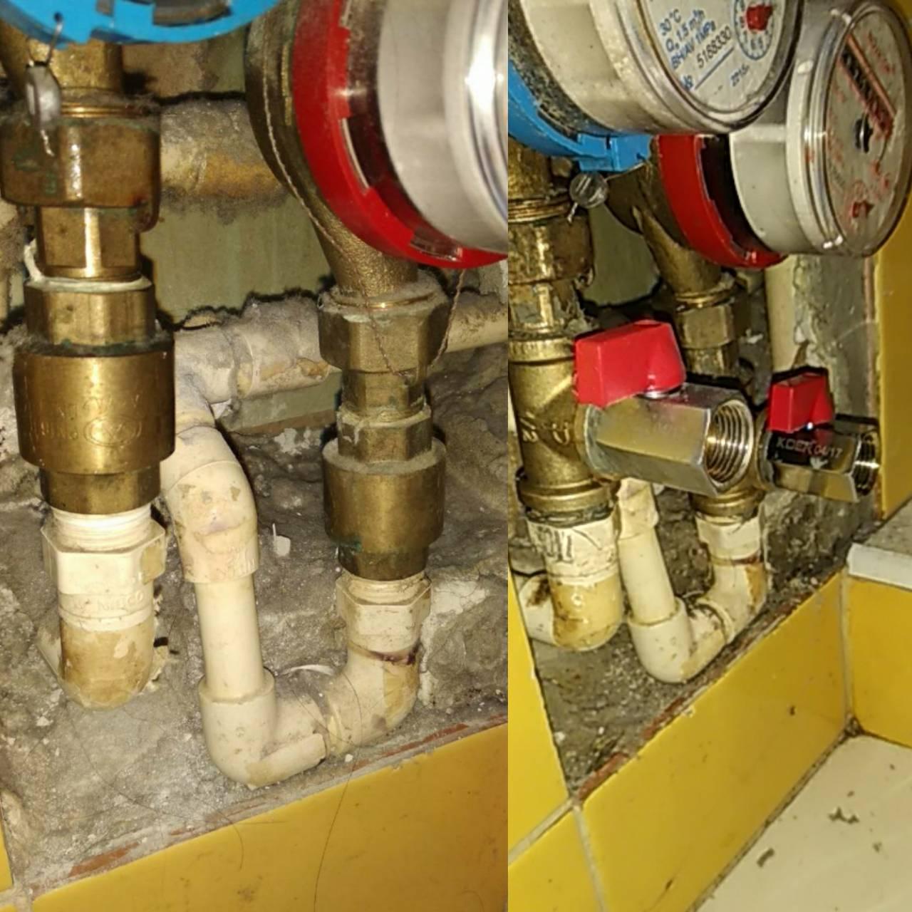 Фото Врезка кранов в систему водоснабжения