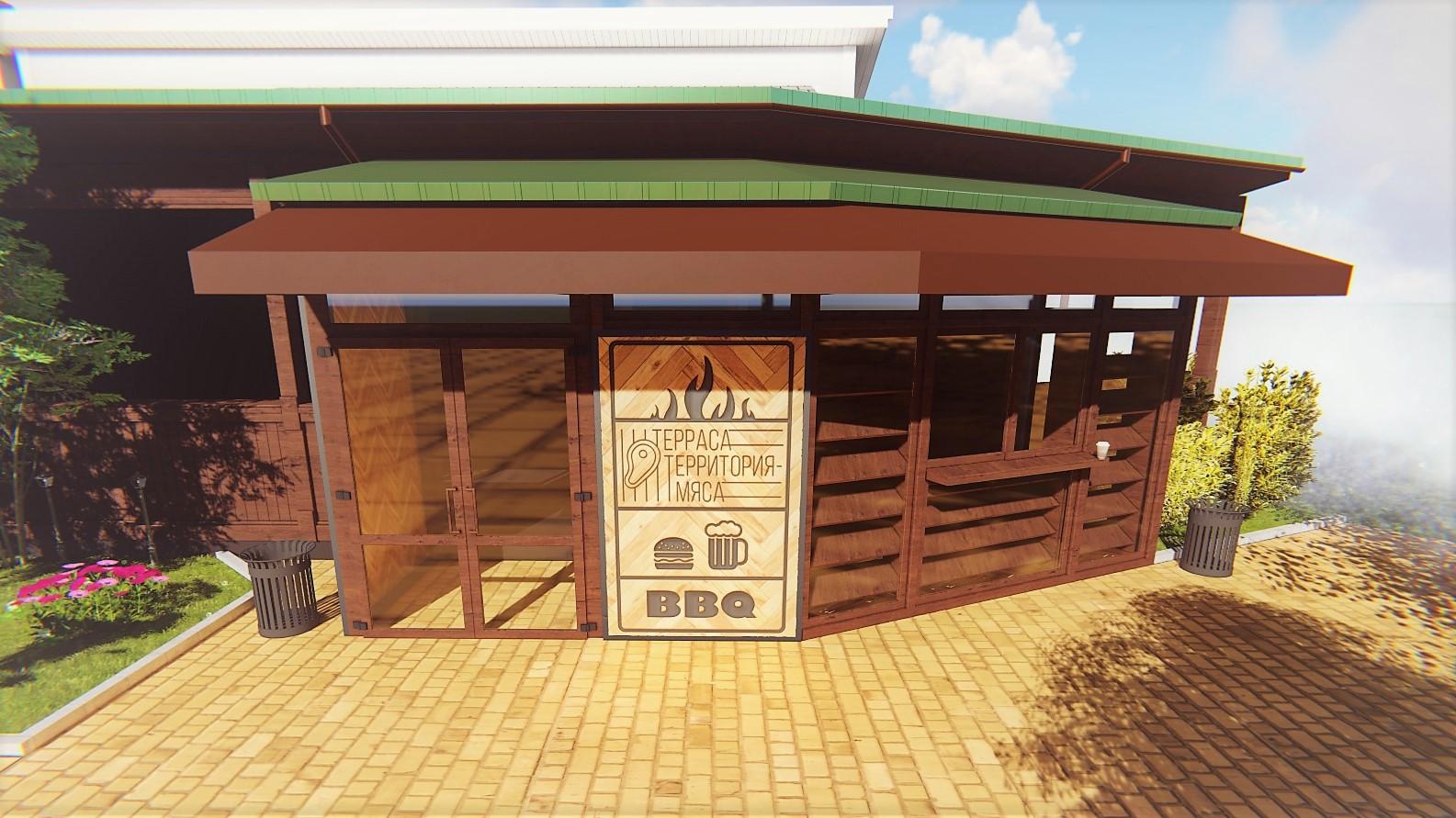 Фото Реконструкция центрального входа ресторана с пристройкой.