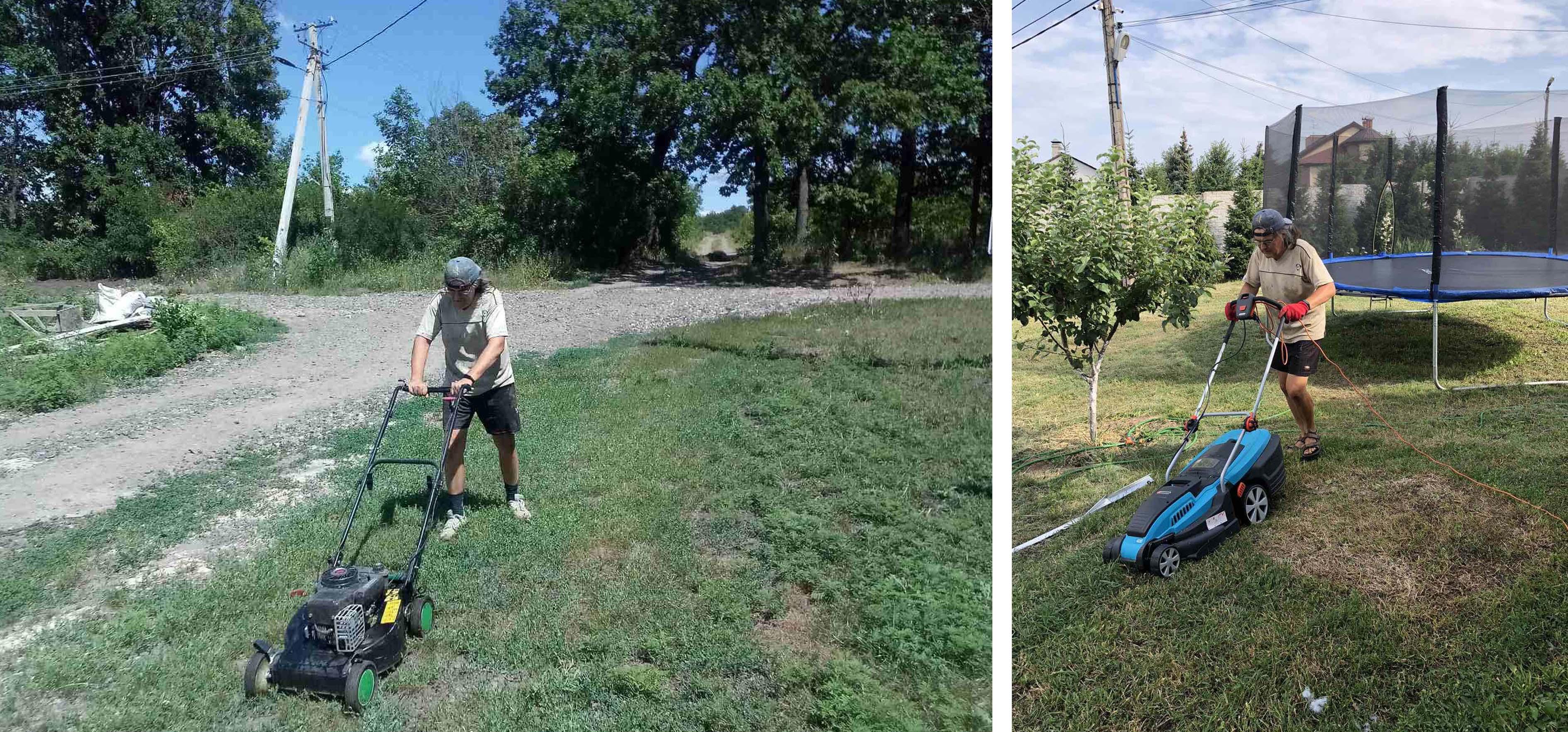Фото Покос травы в 2-х разных местах в июле 2020 года. В одном месте косил бензиновой газонокосилкой, в другом - электрической. Потраченное время в обоих случаях около 2-х часов. Бензиновой косить удобнее и быстрее, т.к. не привязан к шнуру. Косилки в обоих случаях хозяйские, не мои.