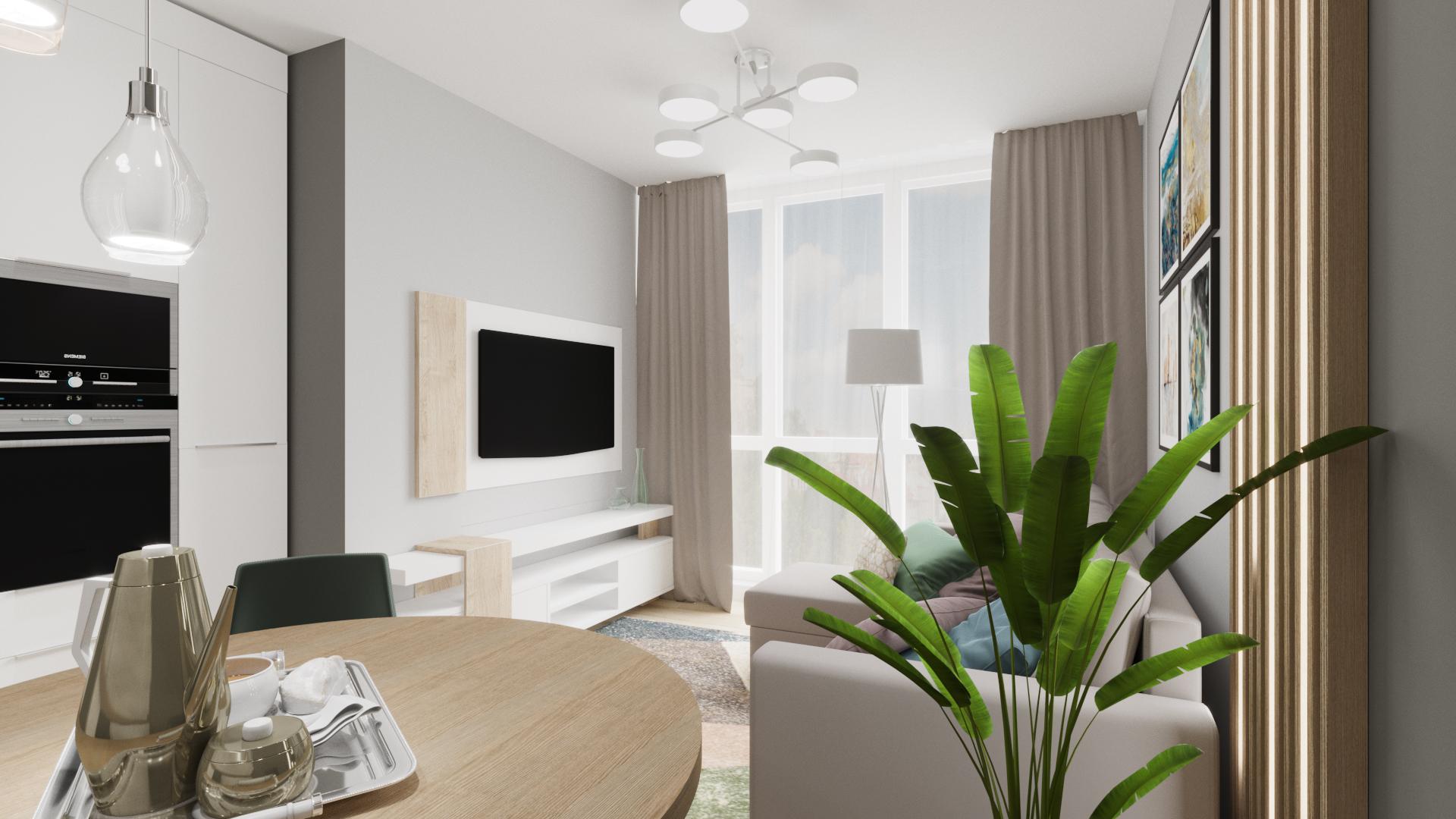 Фото Дизайн и визуализация кухни-гостиной