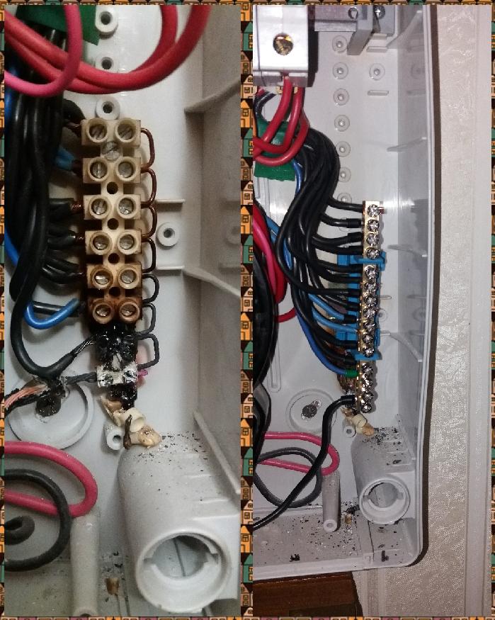 Фото Исправлен серьезный косяк электрика. На клеммной колодке с нулевыми проводниками внизу был плохой контакт. Результат - оплавление клеммника. К счастью данный клеммник не горючий и возгорания не произошло. Нижний контакт нагревался до покраснения металла в темноте был похож на маленькую лампочку.  Мной установлена нулевая шина и концы проводников обжаты наконечниками.