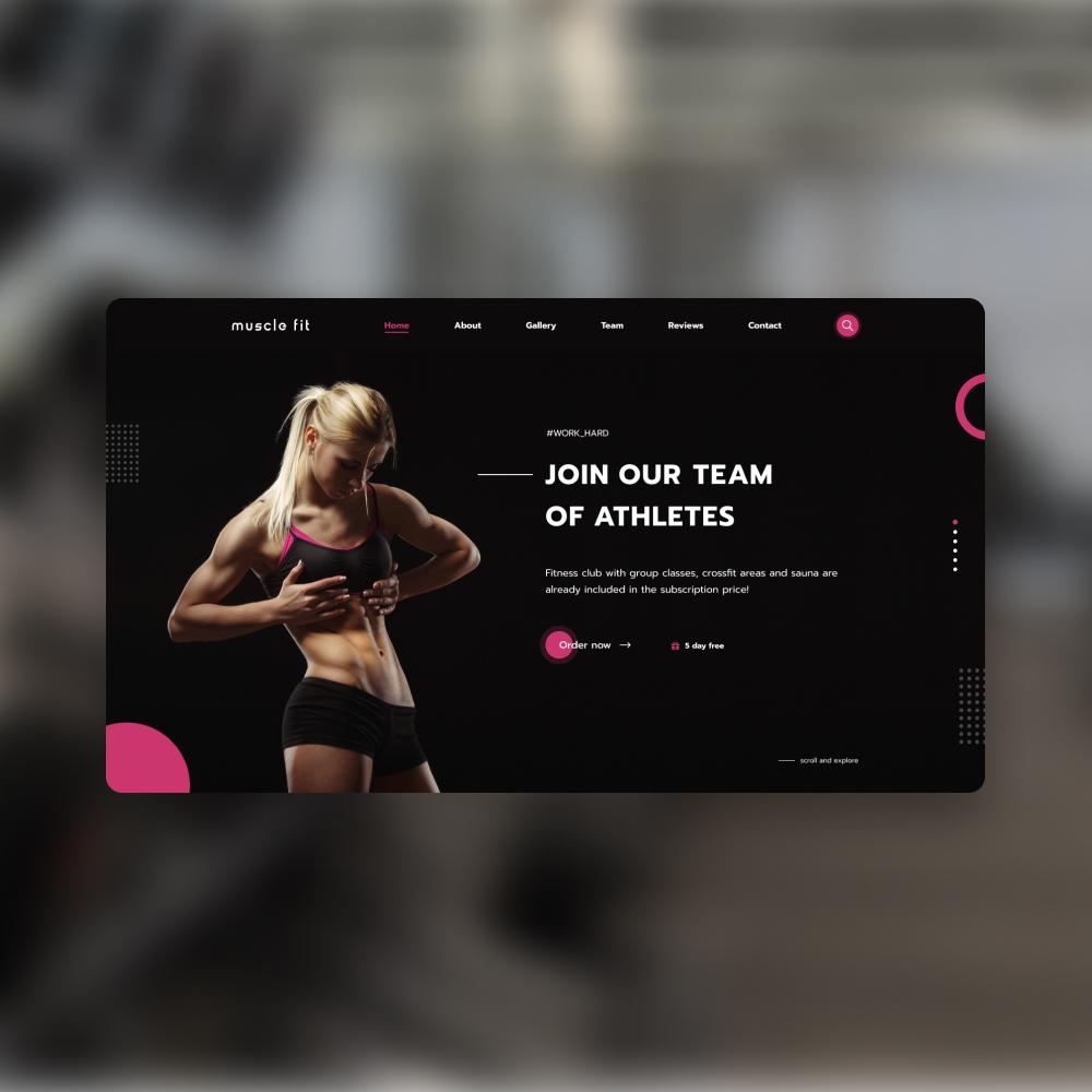 Фото Разработана концепция главного экрана (веб-дизайн) для лендинг пейджа бренда MuscleFit Среда разработки: Фигма Время работы: 4 часа