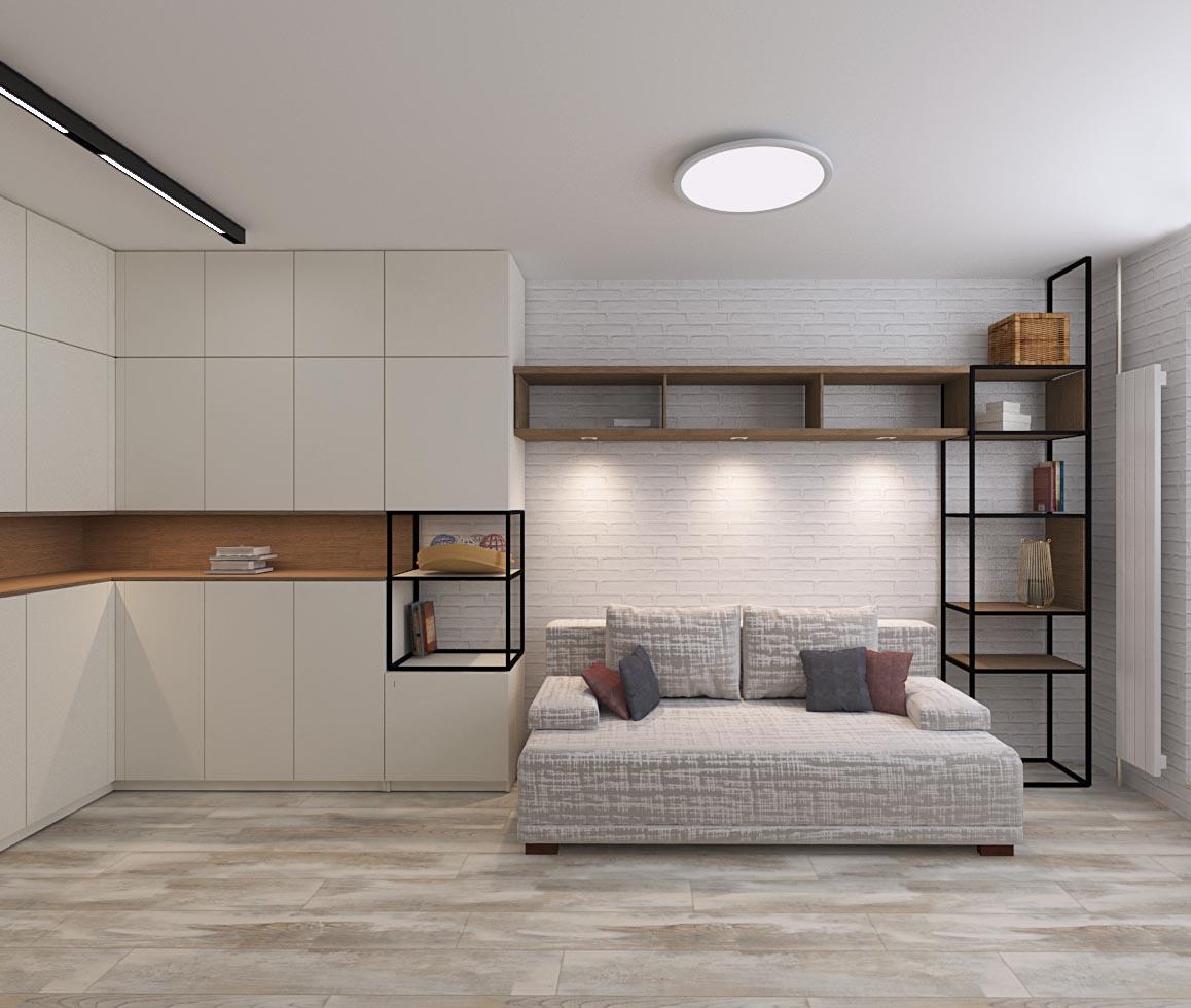 Фото Гостиная-спальня в стиле сканди
